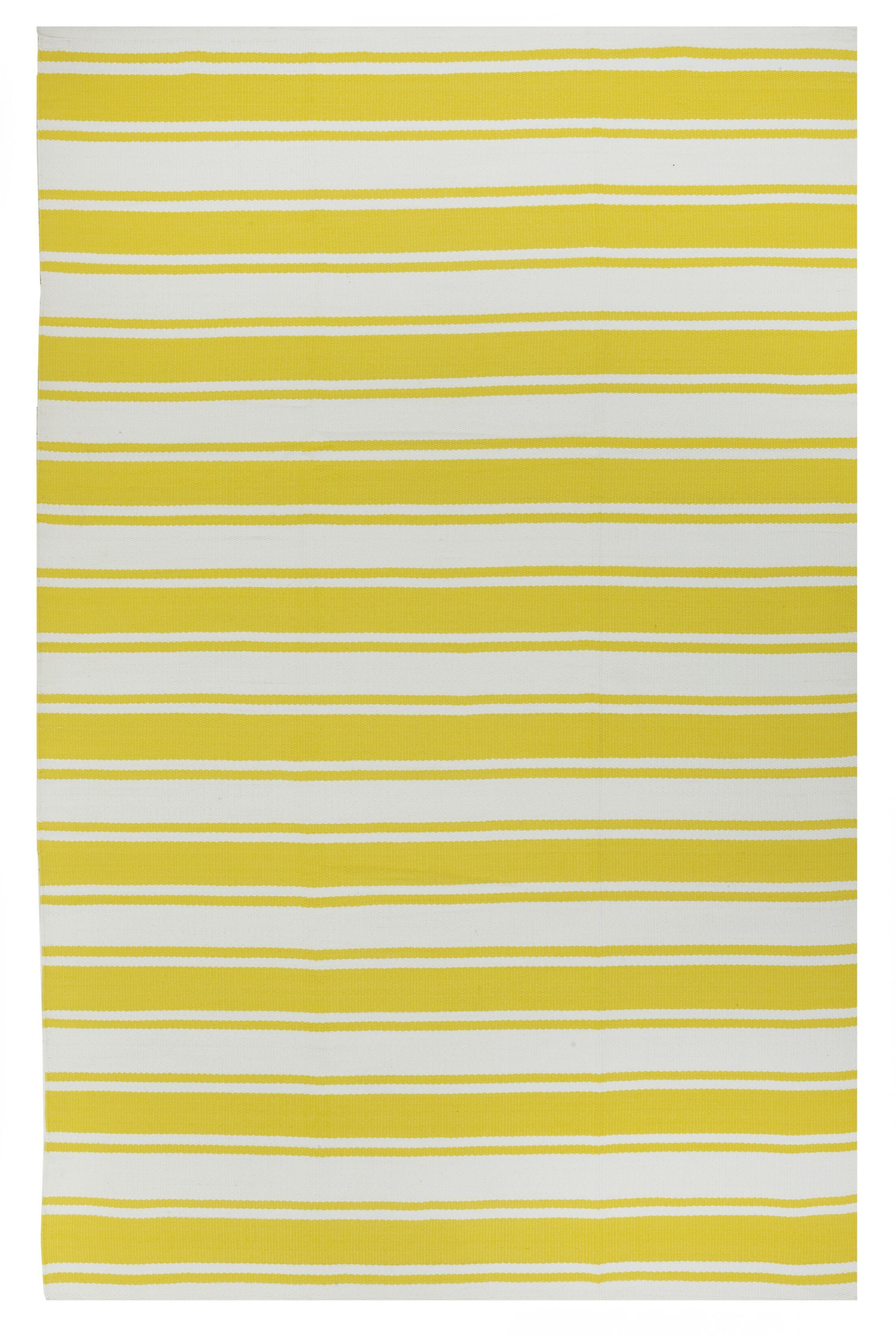 Lucky Hand-Woven Yellow/White  Indoor/Outdoor Area Rug Rug Size: Rectangle 3' x 5'