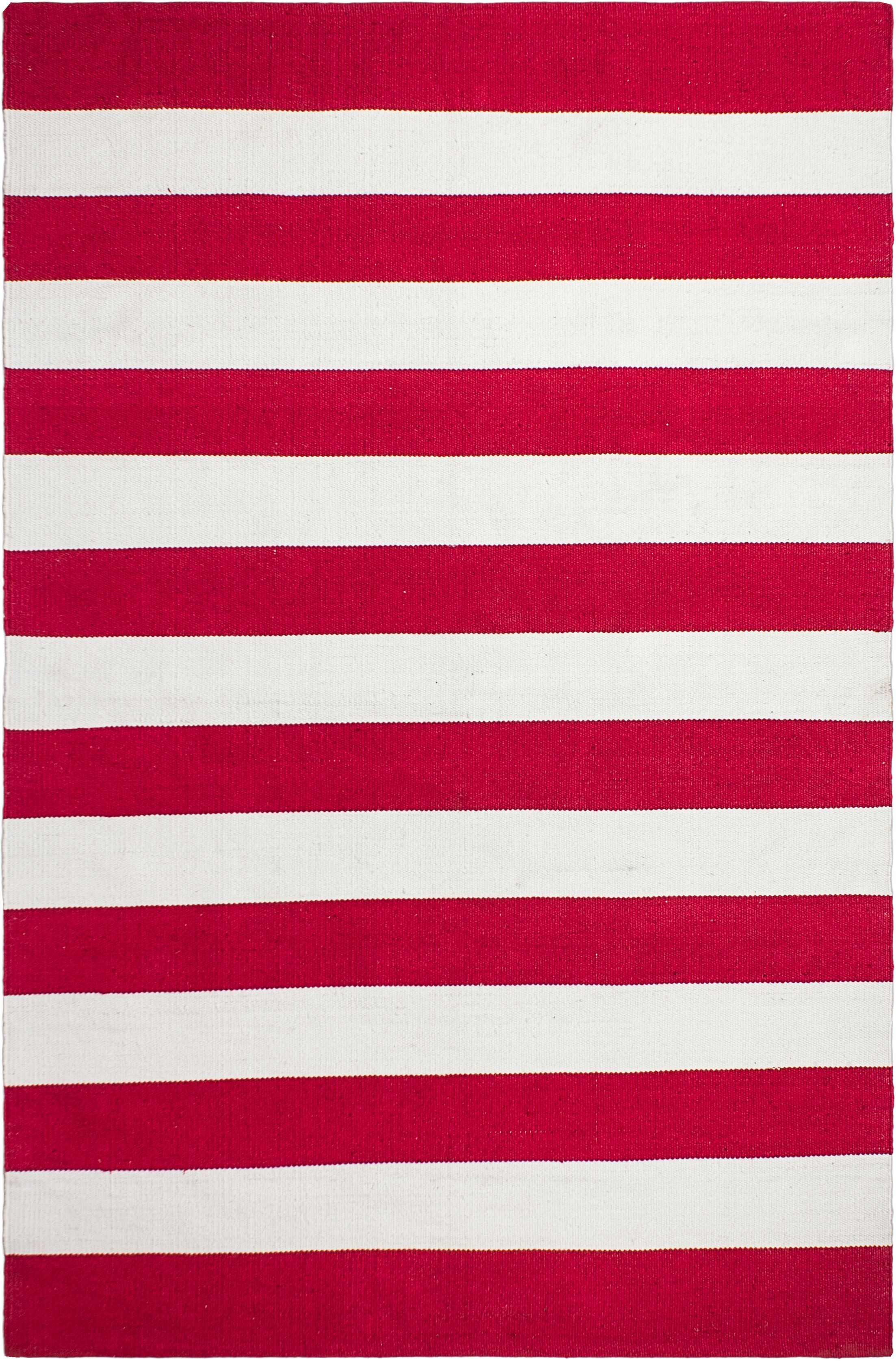 Nantucket Striped Hand-Woven Red/White Indoor/Outdoor Area Rug Rug Size: 8' x 10'