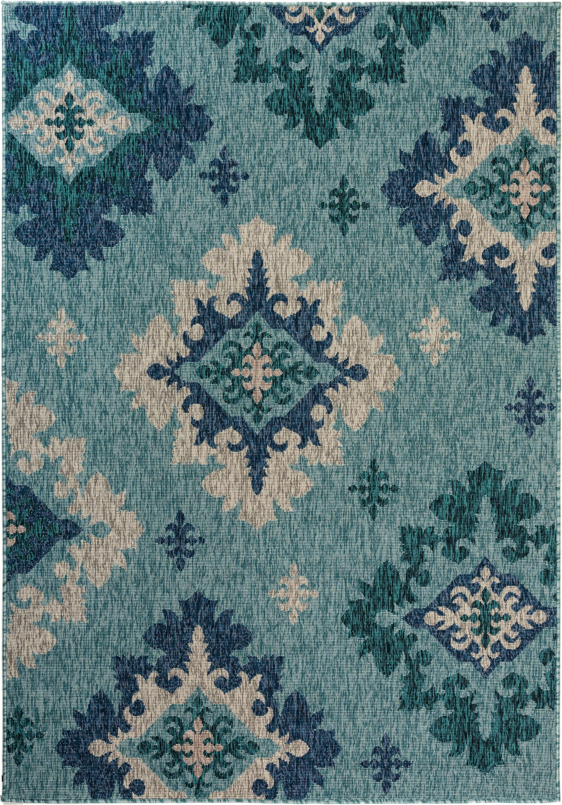 Goldfield Damask Turquoise Indoor/Outdoor Area Rug Size: Rectangle 7'9