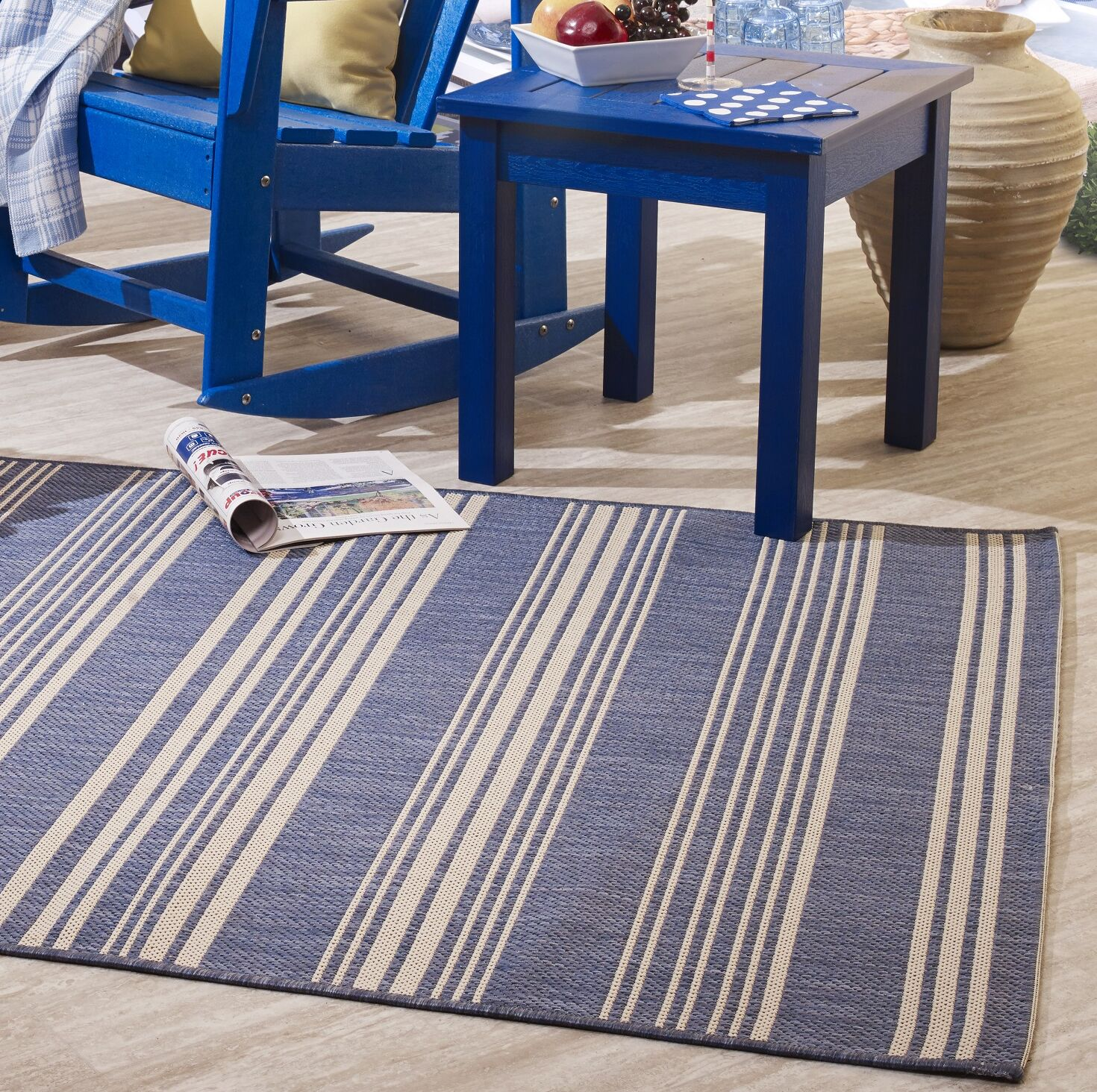 Wrington Stripe Blue Indoor/Outdoor Area Rug Size: Rectangle 7'9