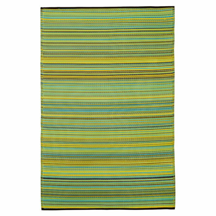 Raub Blue/Green Outdoor Area Rug Rug Size: Round 8'