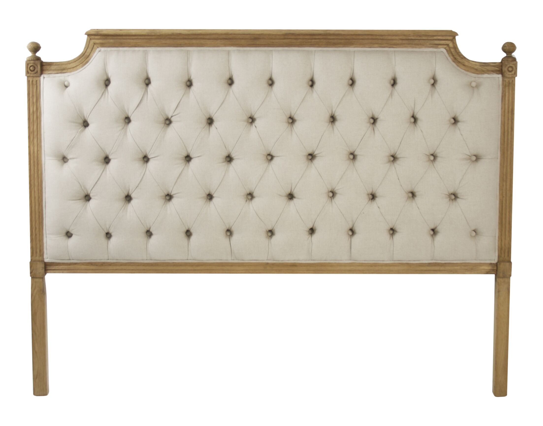 Louis Upholstered Panel Headboard Color: Ivory, Size: Queen