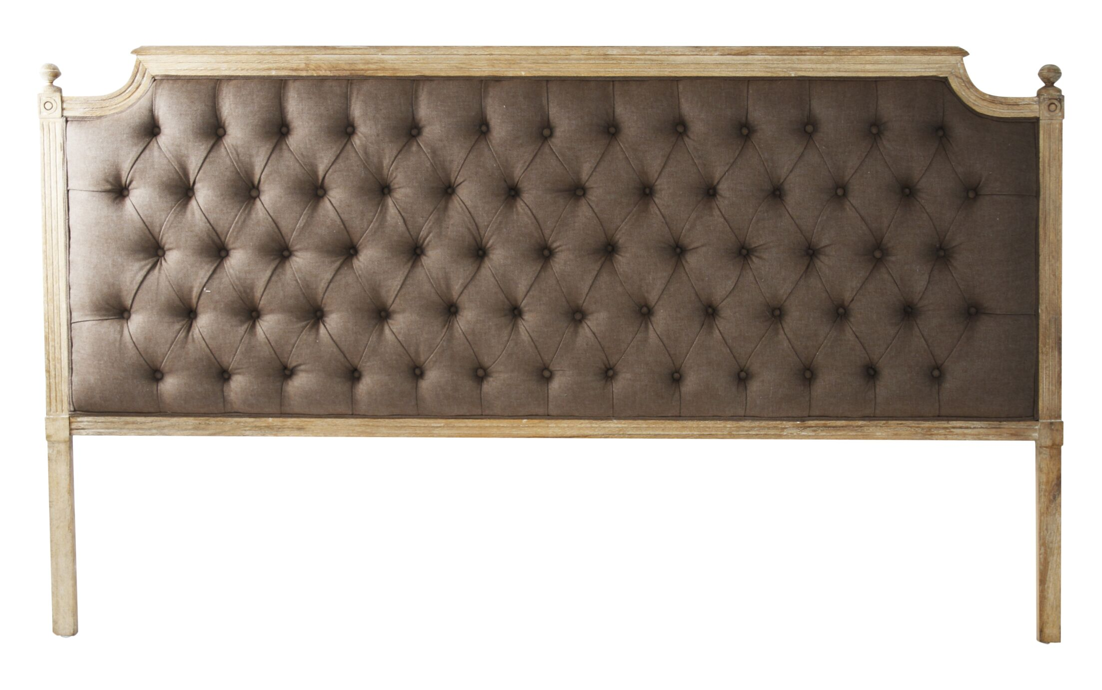 Louis Upholstered Panel Headboard Color: Brown, Size: King