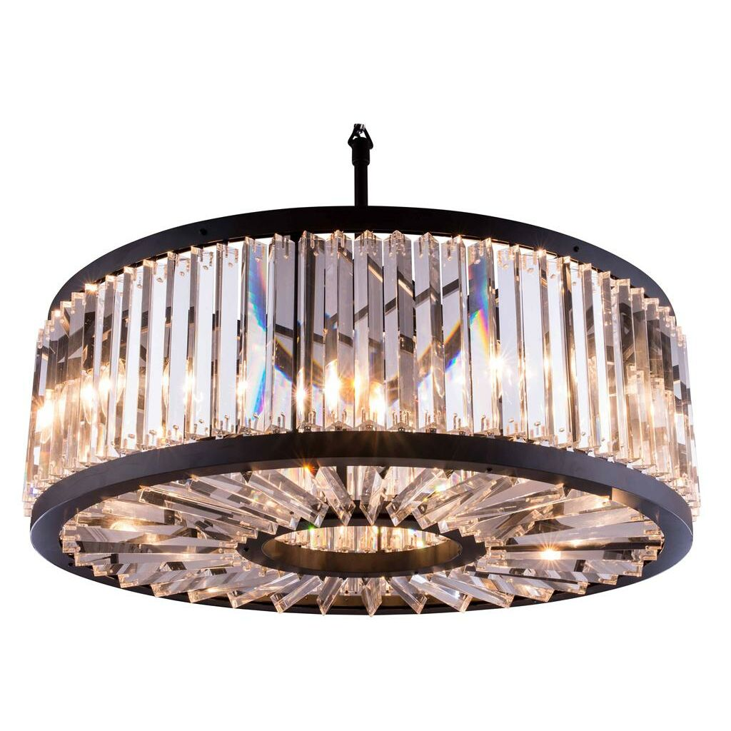 Dorinda�10-Light Crystal Chandelier Crystal: Silver Shade (Grey), Finish: Polished Nickel