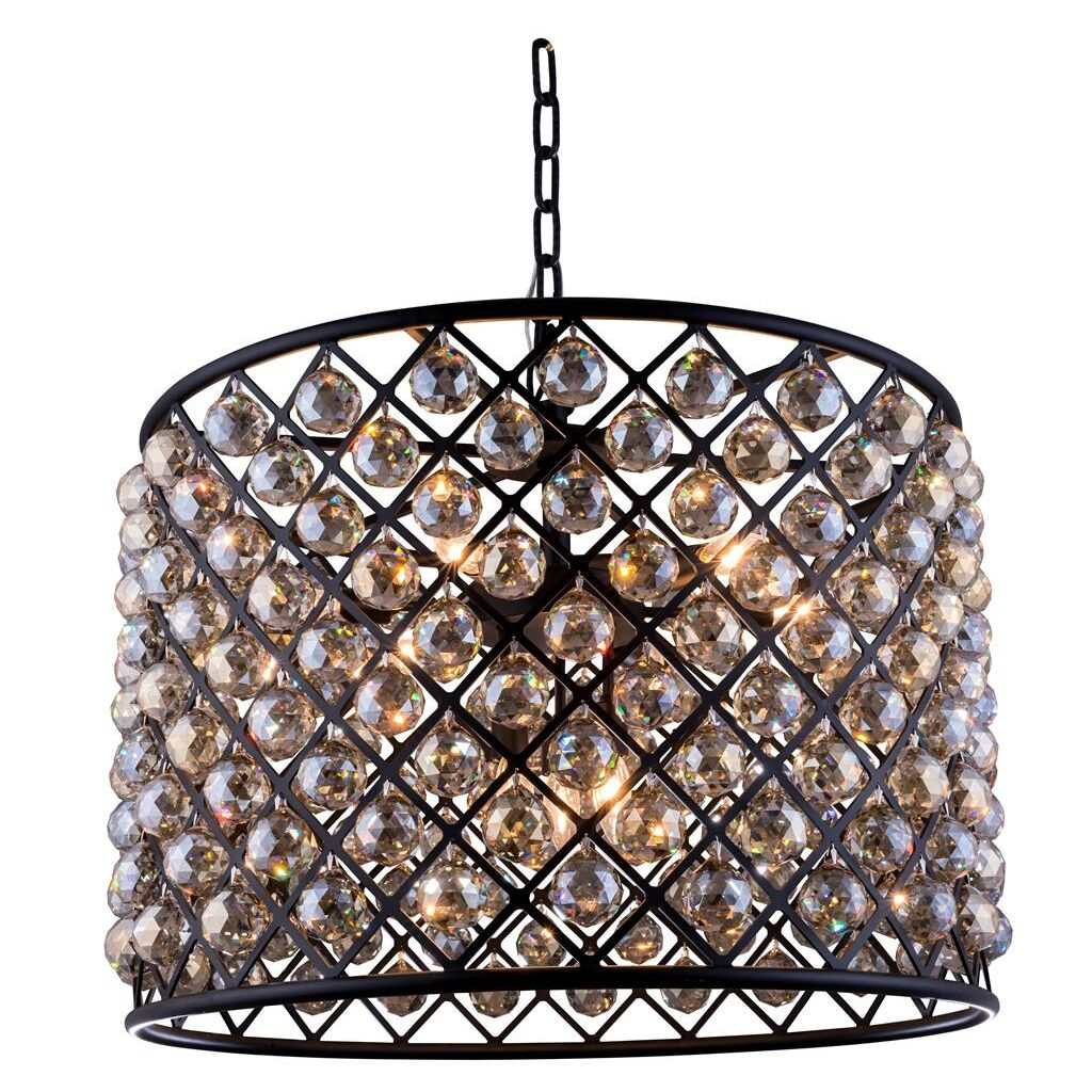 Morion 8-Light Pendant Finish: Polished Nickel, Crystal: Golden Teak (Smoky)