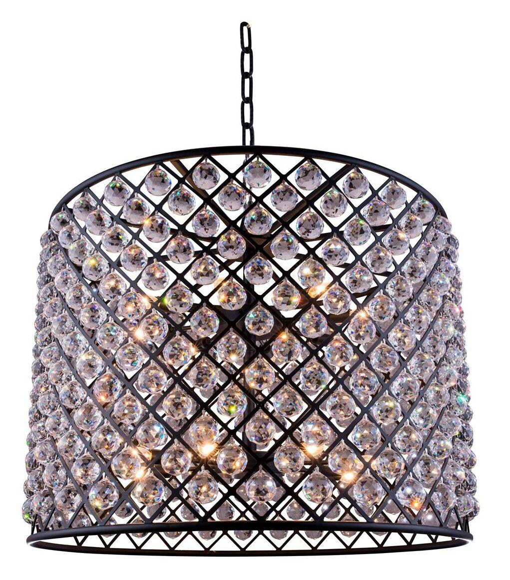 Morion 12-Light Pendant Crystal: Golden Teak (Smoky), Finish: Polished Nickel