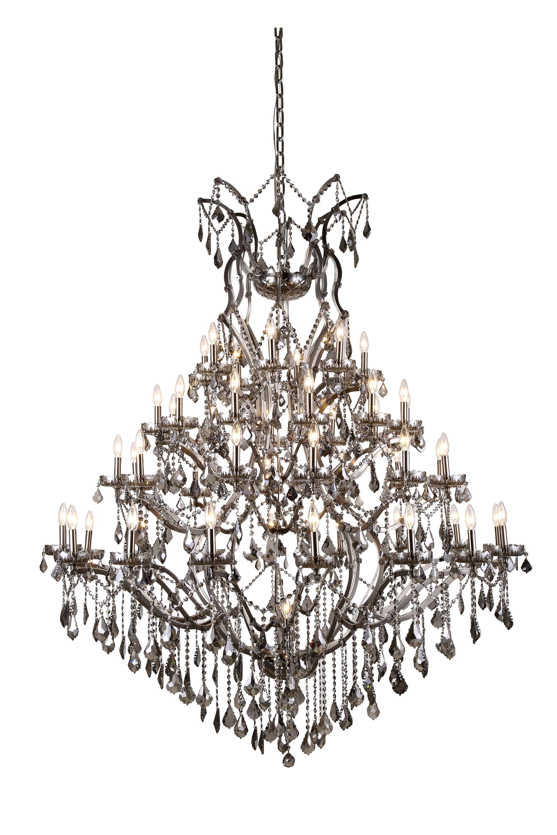 Newell 49-Light Candle Style Chandelier Finish: Polished Nickel, Shade Color: Grey
