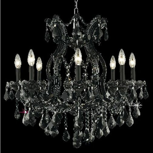 Regina 9-Light Candle Style Chandelier Finish / Crystal Finish / Crystal Trim: Golden Teak / Golden Teak (Smoky) / Royal Cut