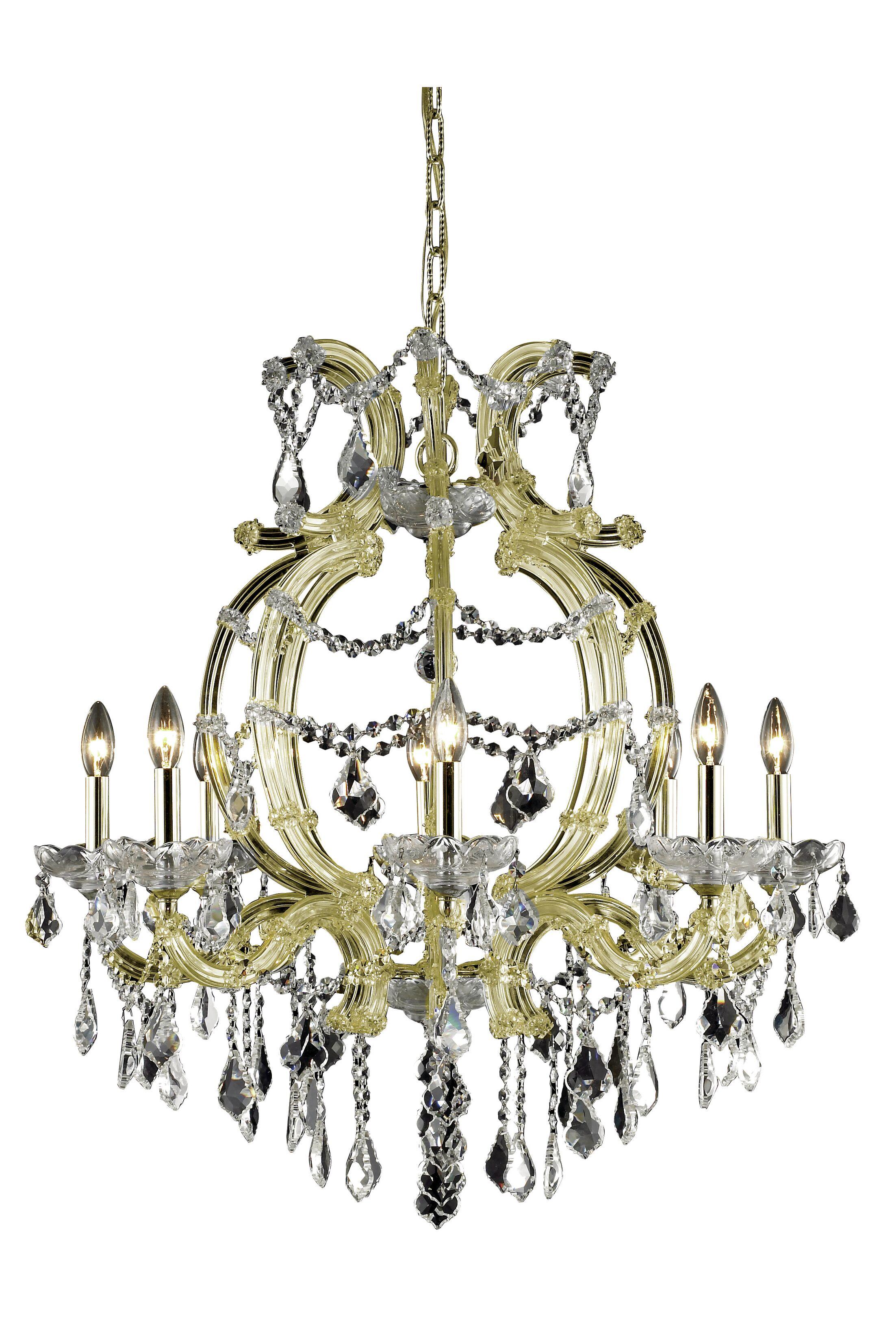 Regina 8-Light Candle Style Chandelier Finish: Gold, Crystal Grade: Spectra Swarovski