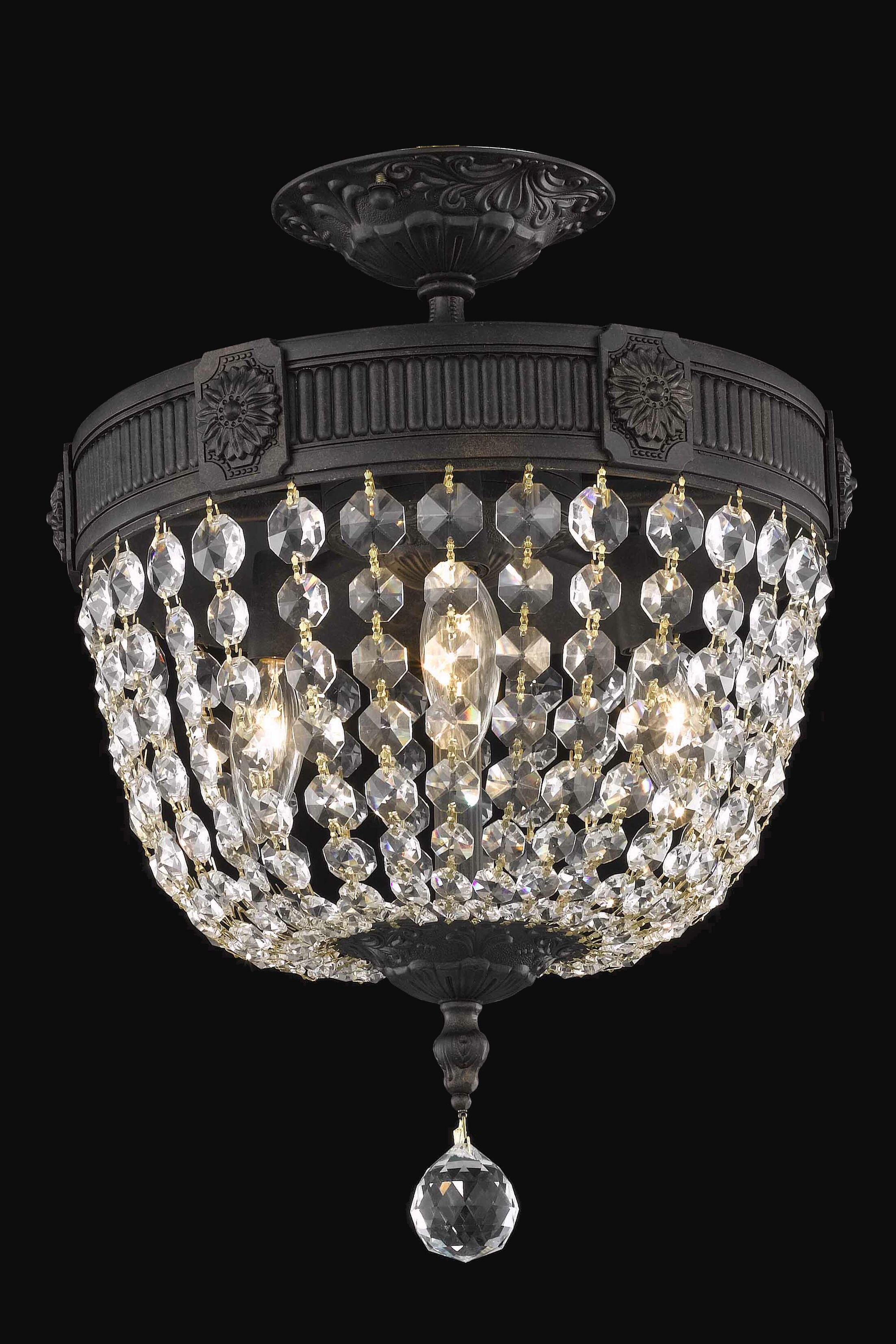 Ursula 3-Light Dark Bronze Semi-Flush Mount Crystal Grade: Swarovski Element