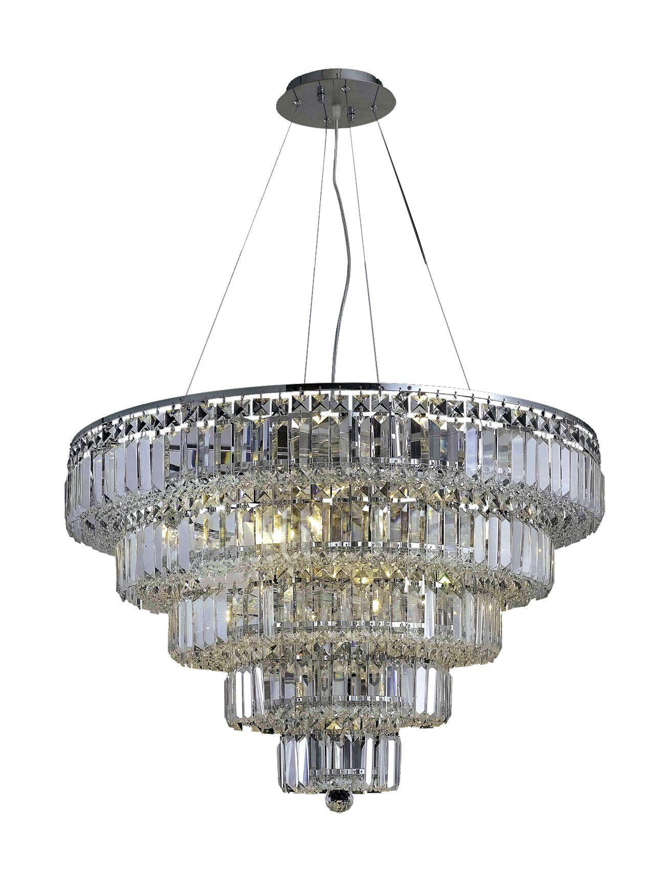 Langer 17-Light Crystal Chandelier Finish: Chrome, Crystal Grade: Swarovski Strass