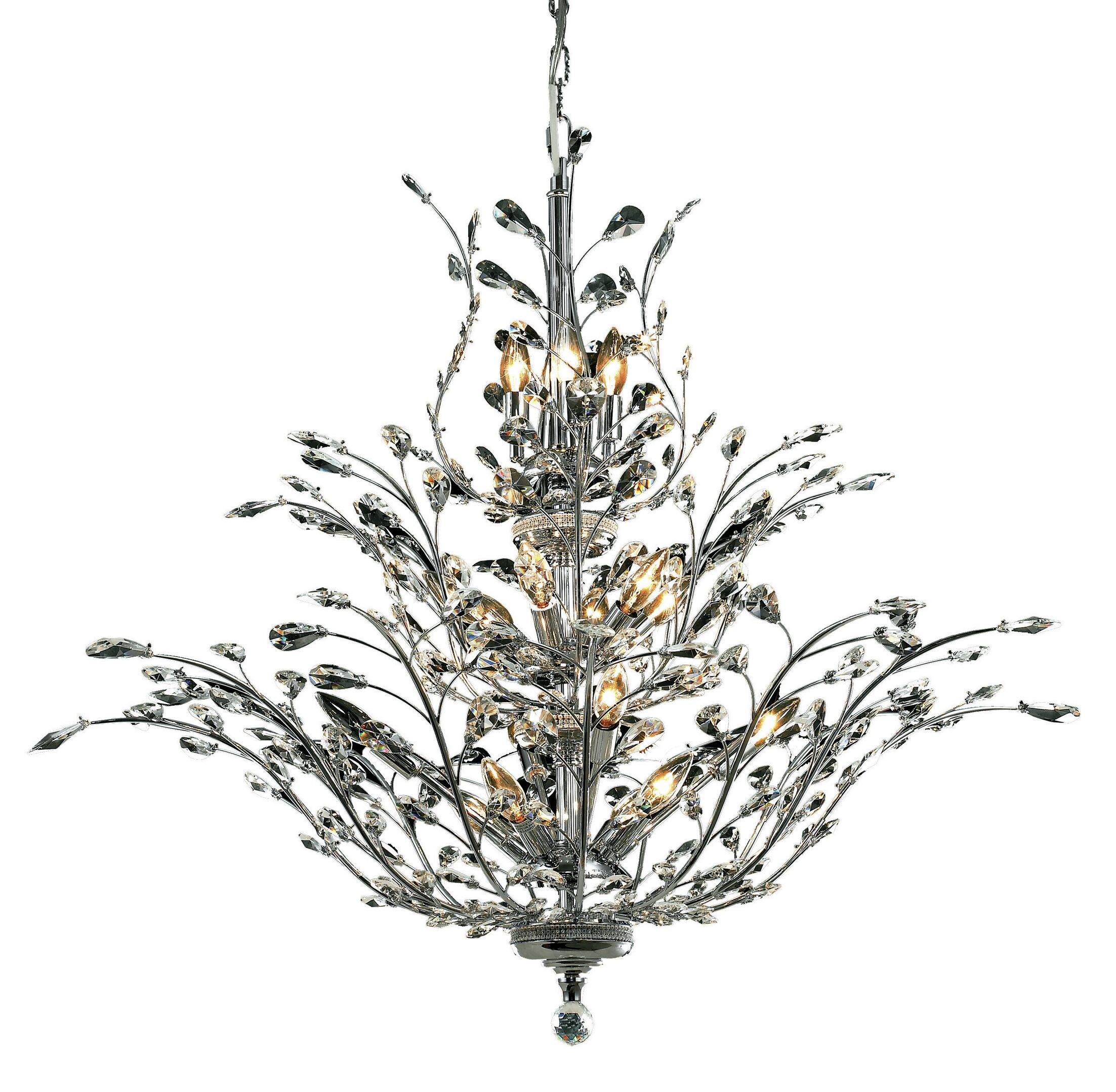 Lamons 18-Light Candle Style Chandelier Finish: Chrome, Crystal Grade: Egyptian