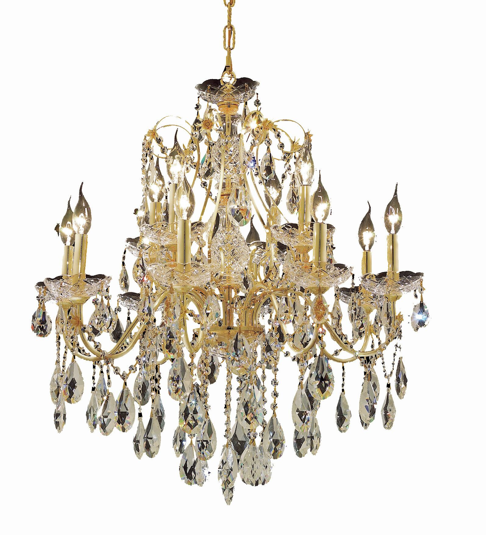Thao 12-Light Candle Style Chandelier Finish: Gold, Crystal Trim: Royal Cut