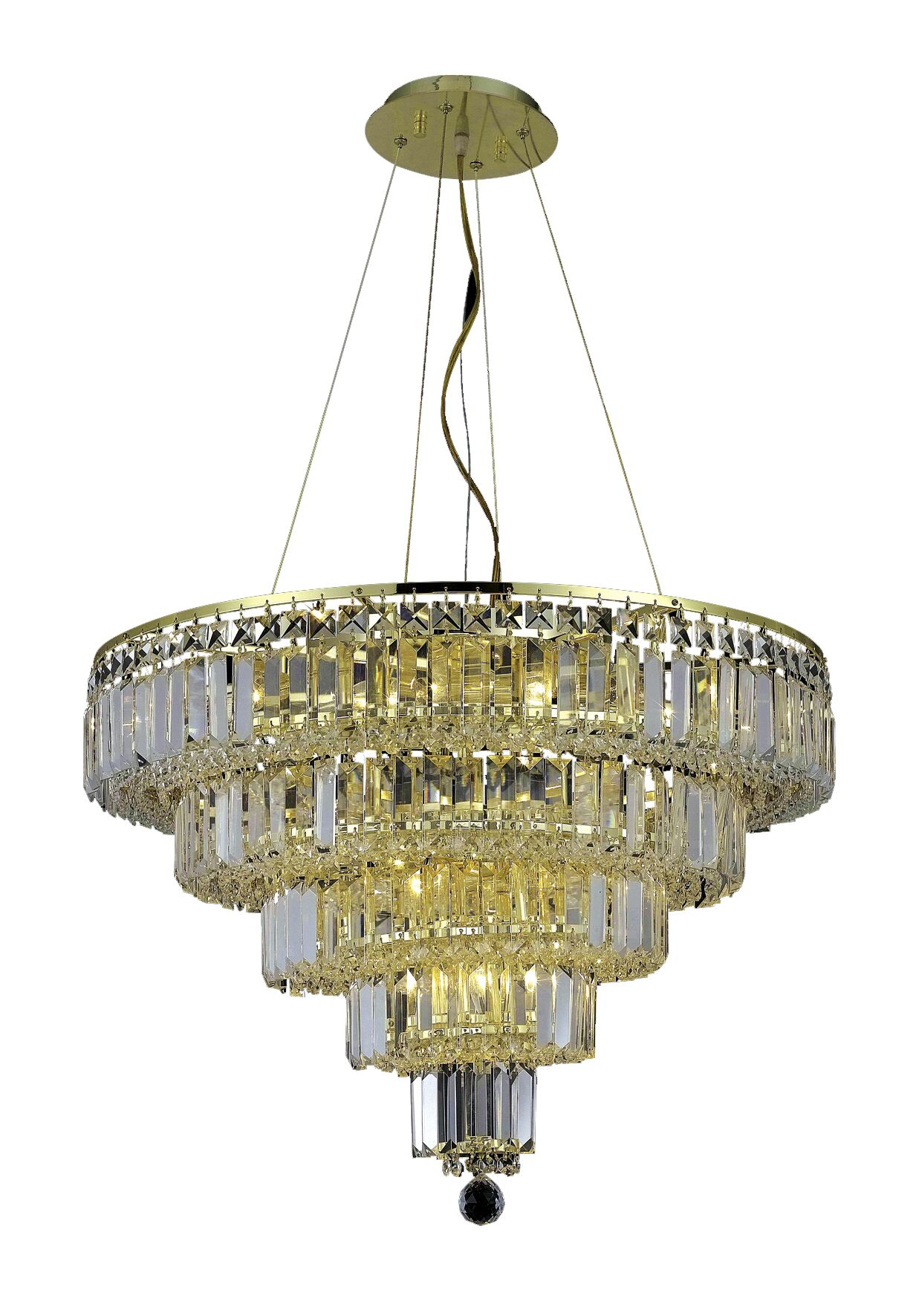 Langer 14-Light Crystal Chandelier Crystal Grade: Egyptian, Finish: Gold