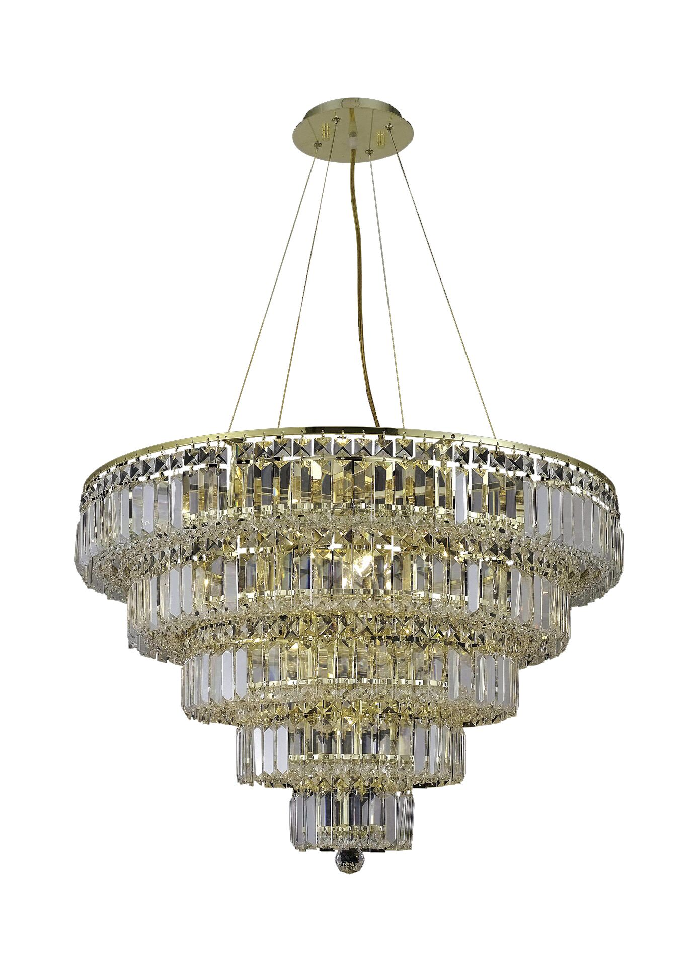 Langer 17-Light Crystal Chandelier Crystal Grade: Elegant-Cut, Finish: Gold