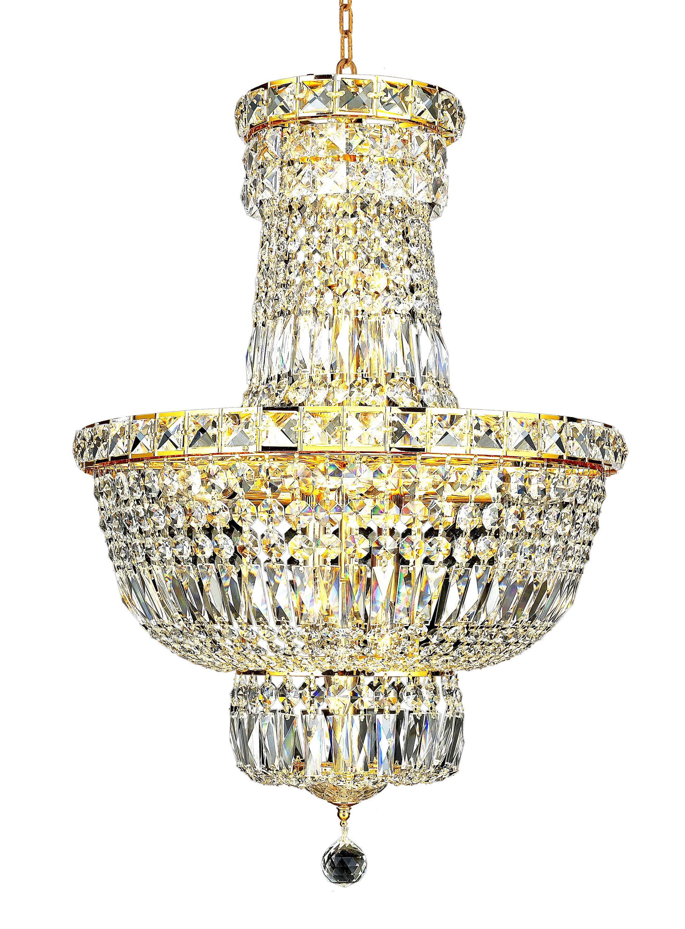 Fulham 12-Light Empire Chandelier Finish: Gold, Crystal: Strass Swarovski