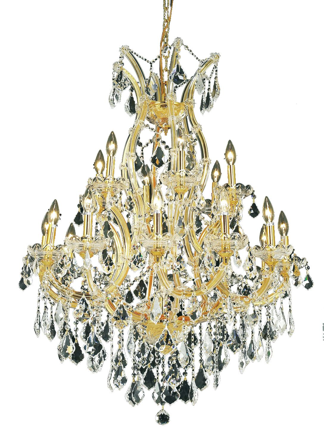 Regina Traditional 19-Light Royal Cut Candle Style Chandelier Finish / Crystal Finish / Crystal Trim: Gold / Crystal (Clear) / Spectra Swarovski