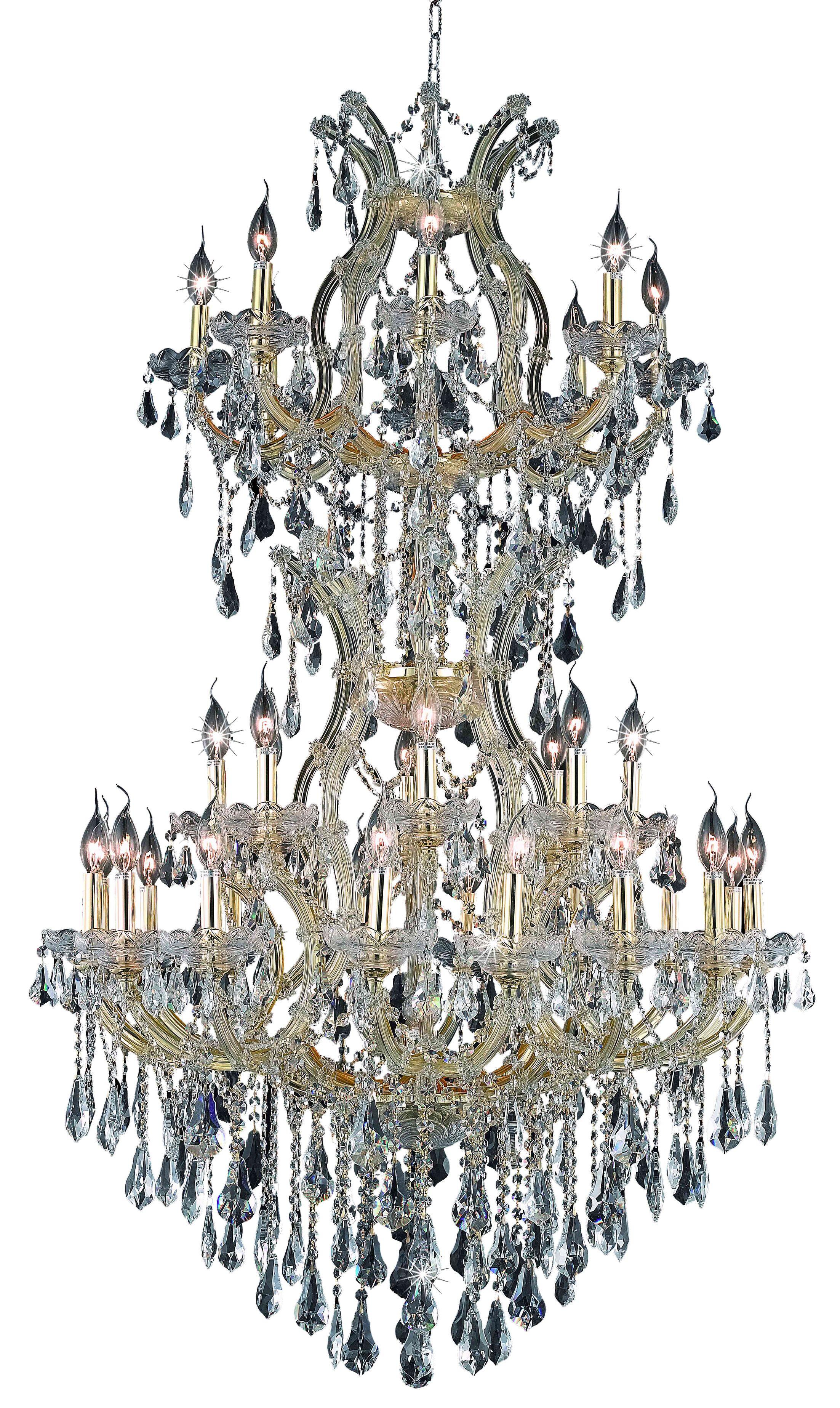 Regina 34-Light Royal Cut Candle Style Chandelier Finish / Crystal Finish / Crystal Trim: Gold / Golden Teak (Smoky) / Strass Swarovski
