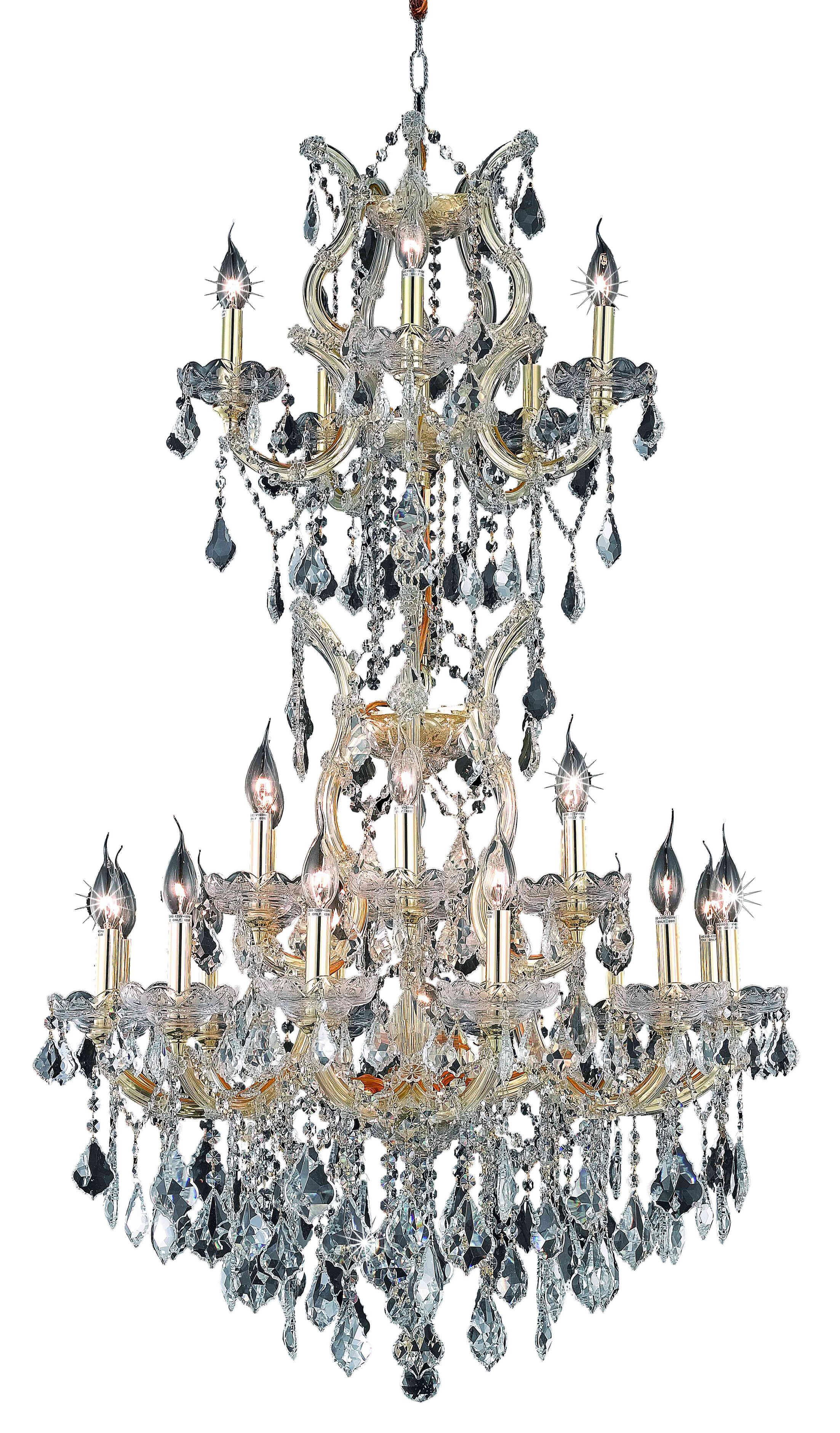 Regina Traditional 25-Light Candle Style Chandelier Finish / Crystal Finish / Crystal Trim: Gold / Crystal (Clear) / Spectra Swarovski