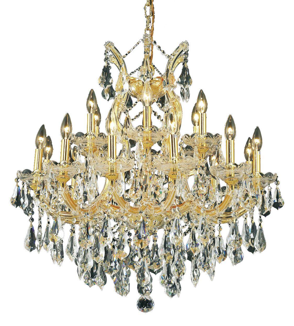 Regina 19-Light Chain Candle Style Chandelier Finish / Crystal Finish / Crystal Trim: Gold / Golden Teak (Smoky) / Strass Swarovski