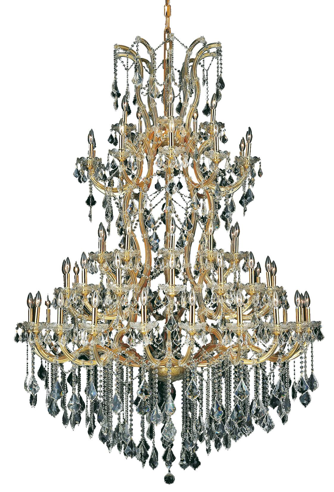 Regina Traditional 61-Light Candle Style Chandelier Finish / Crystal Finish / Crystal Trim: Gold / Golden Teak (Smoky) / Royal Cut
