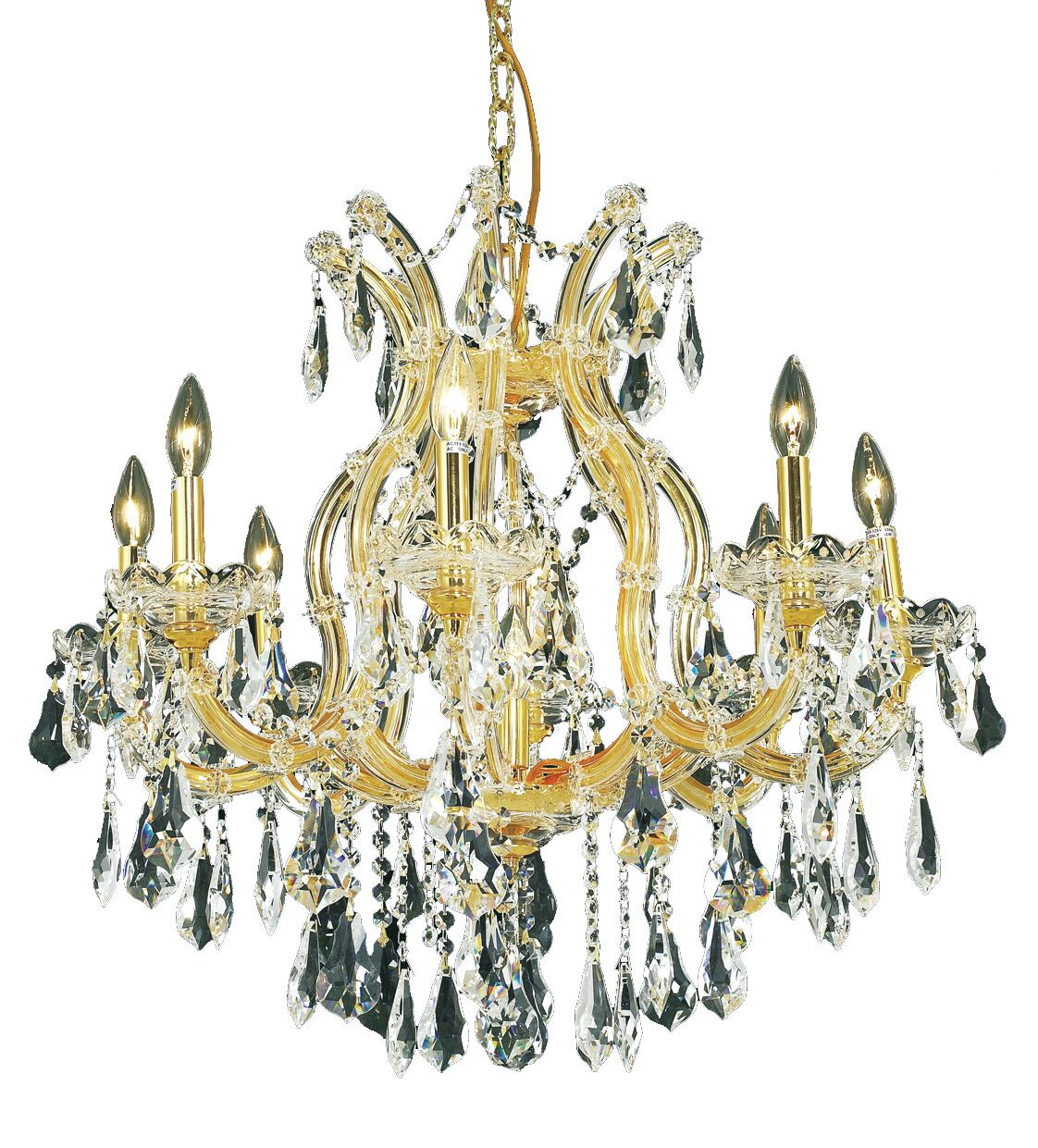 Regina 9-Light Royal Cut Candle Style Chandelier Finish / Crystal Finish / Crystal Trim: Chrome / Crystal (Clear) / Royal Cut