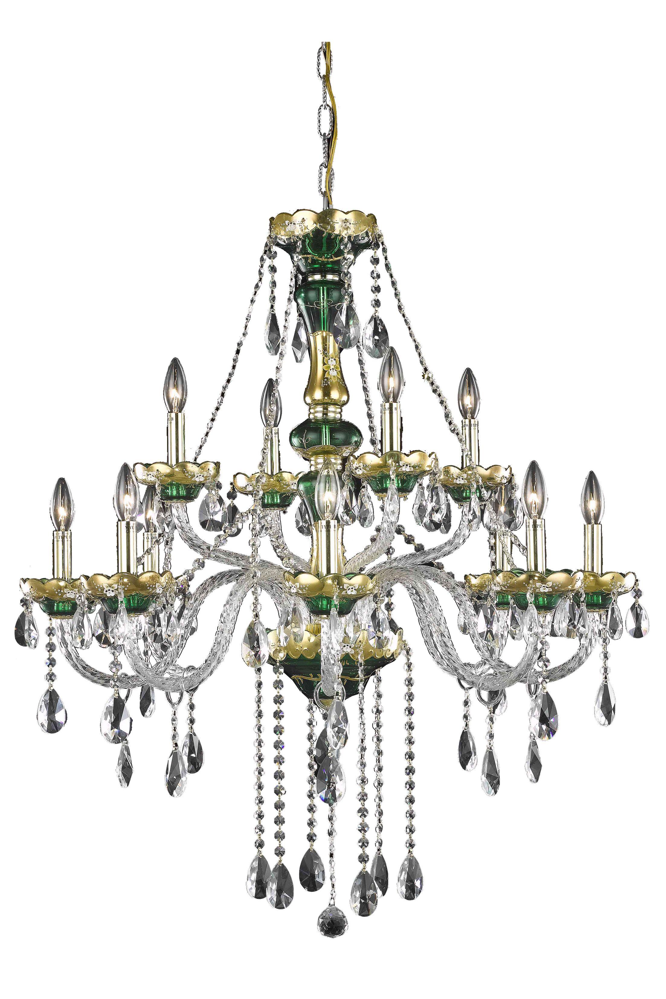 Schroeppel 12-Light Candle Style Chandelier with Chain Crystal Trim: Strass Swarovski