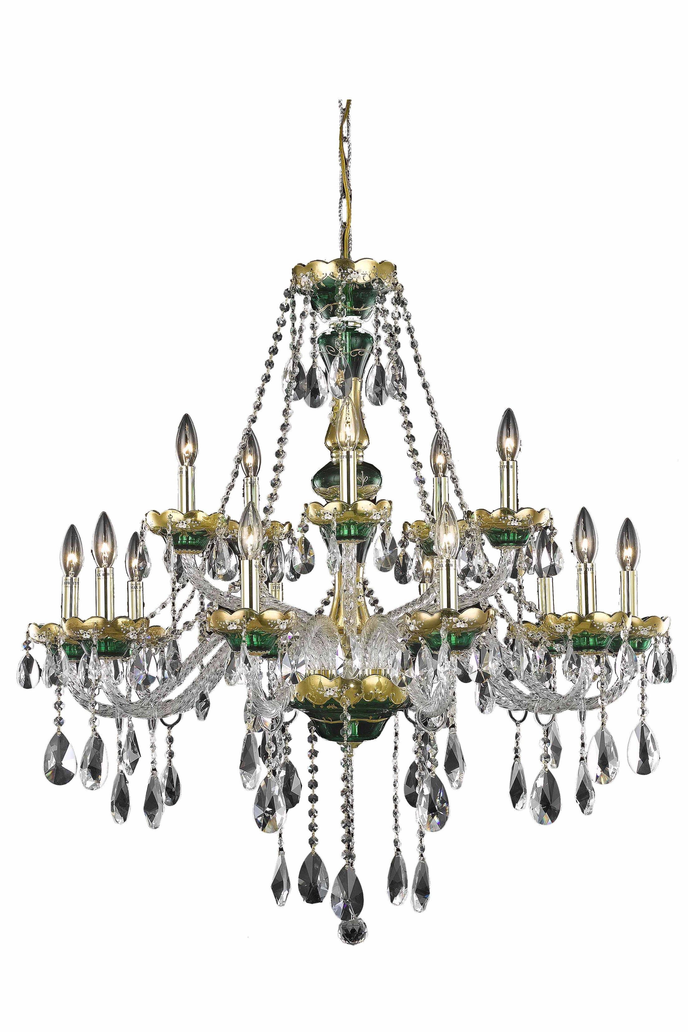 Schroeppel Traditional 15-Light Candle Style Chandelier Color: Blue, Crystal Trim: Spectra Swarovski