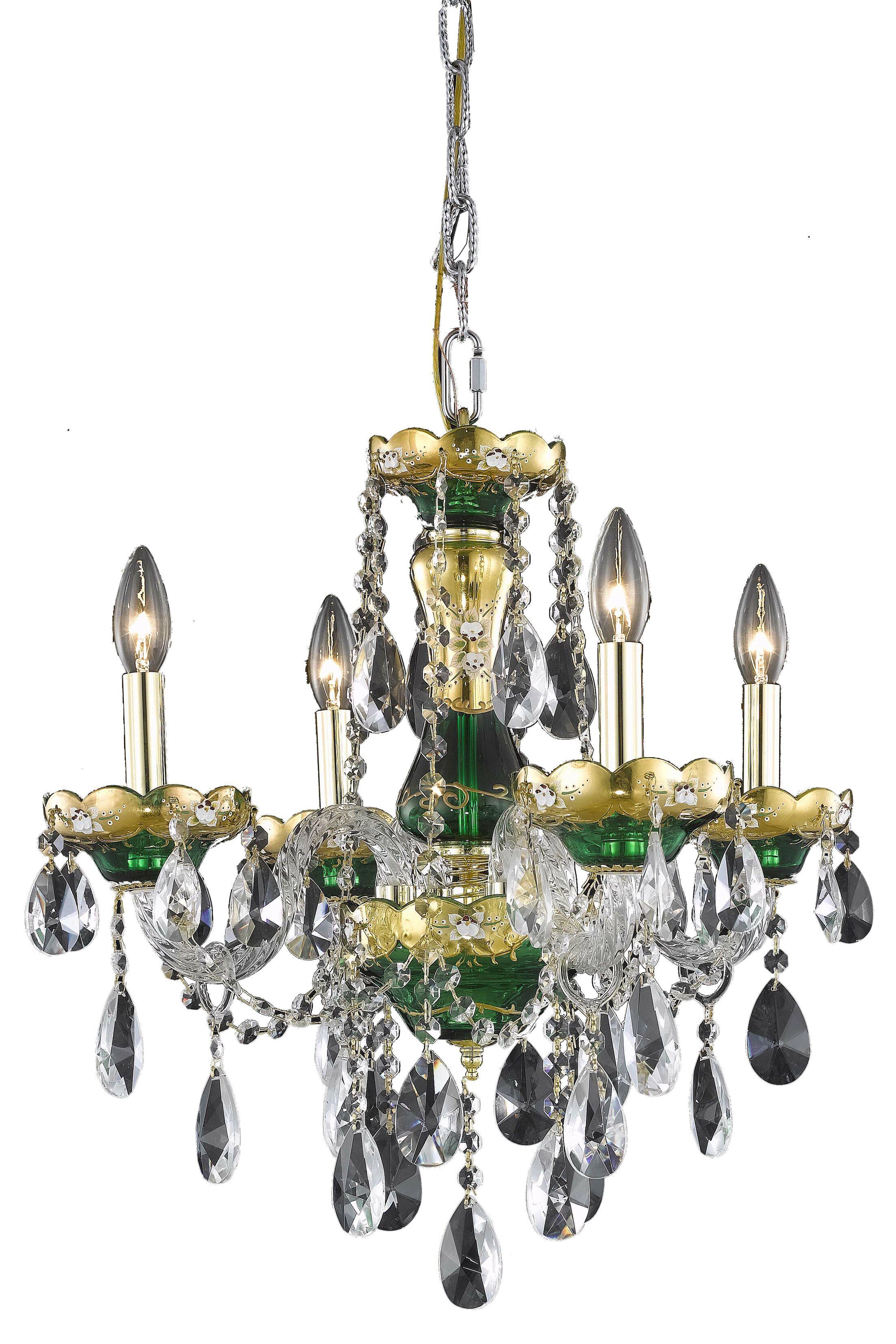 Schroeppel 4-Light Candle Style Chandelier Color: Blue, Crystal Trim: Elegant Cut