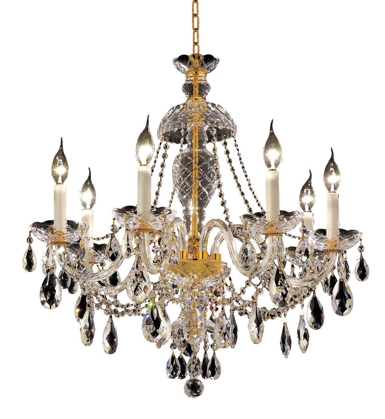 Schroeppel Traditional 7-Light Candle Style Chandelier Color / Crystal Color / Crystal Trim: Gold / Crystal (Clear) / Royal Cut