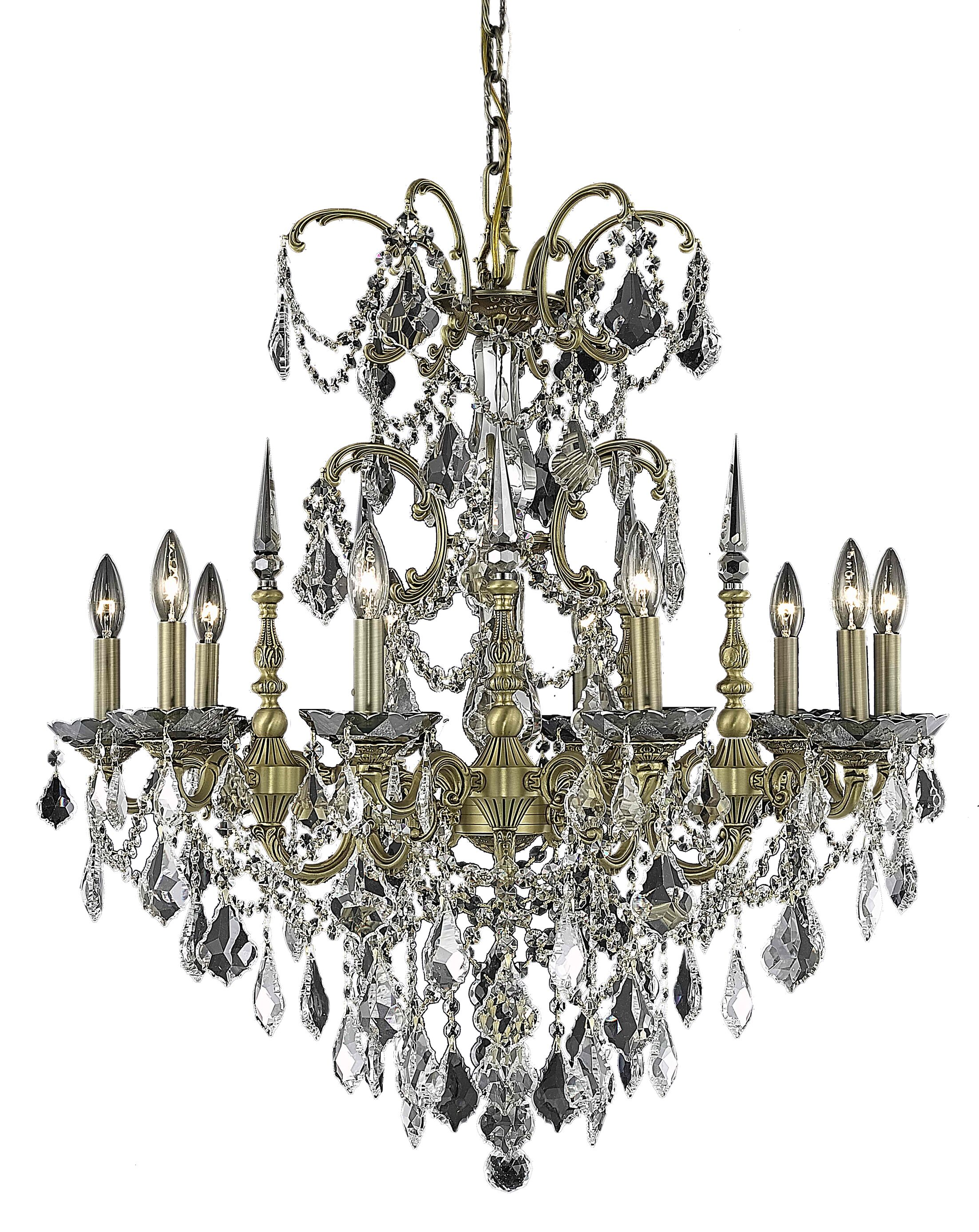 Cherie 10-Light Glass Candle Style Chandelier Finish / Crystal Finish / Crystal Trim: Pewter / Golden Teak (Smoky) / Royal Cut