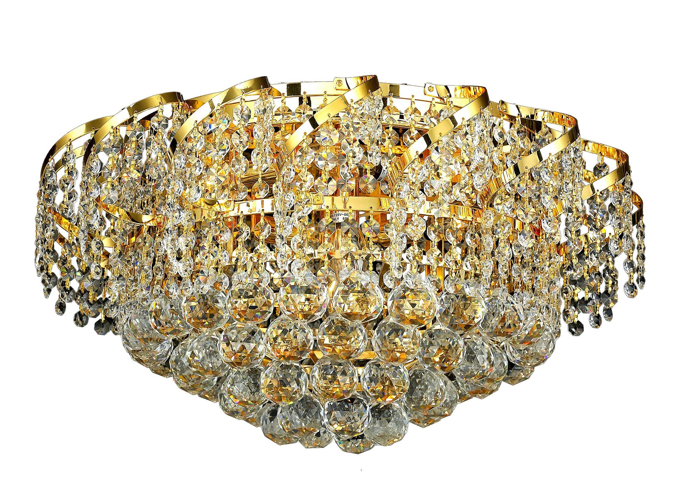 Antione 8-Light Flush Mount Finish: Gold, Crystal Grade: Spectra Swarovski