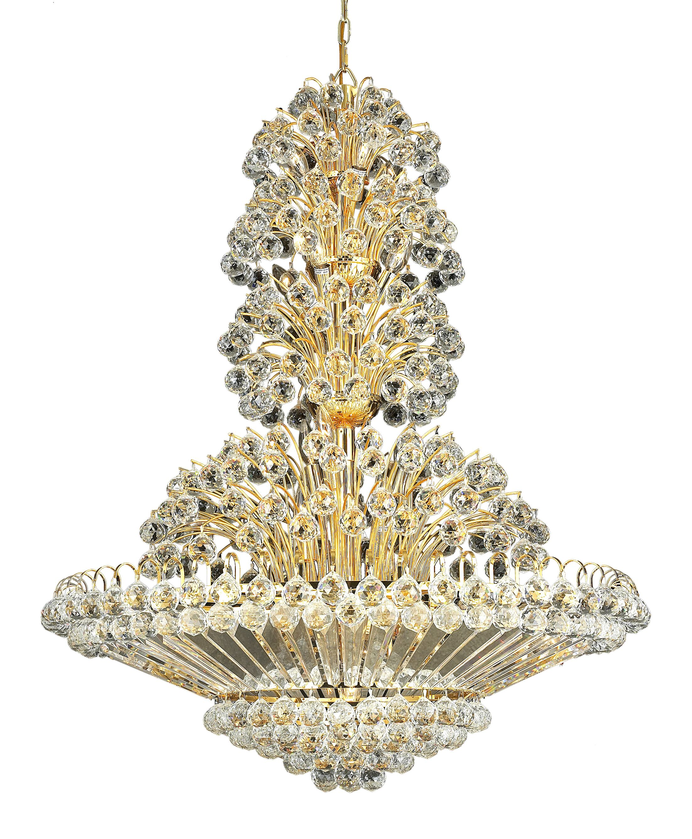 Maud 33-Light Chandelier Crystal Grade: Egyptian, Finish: Gold