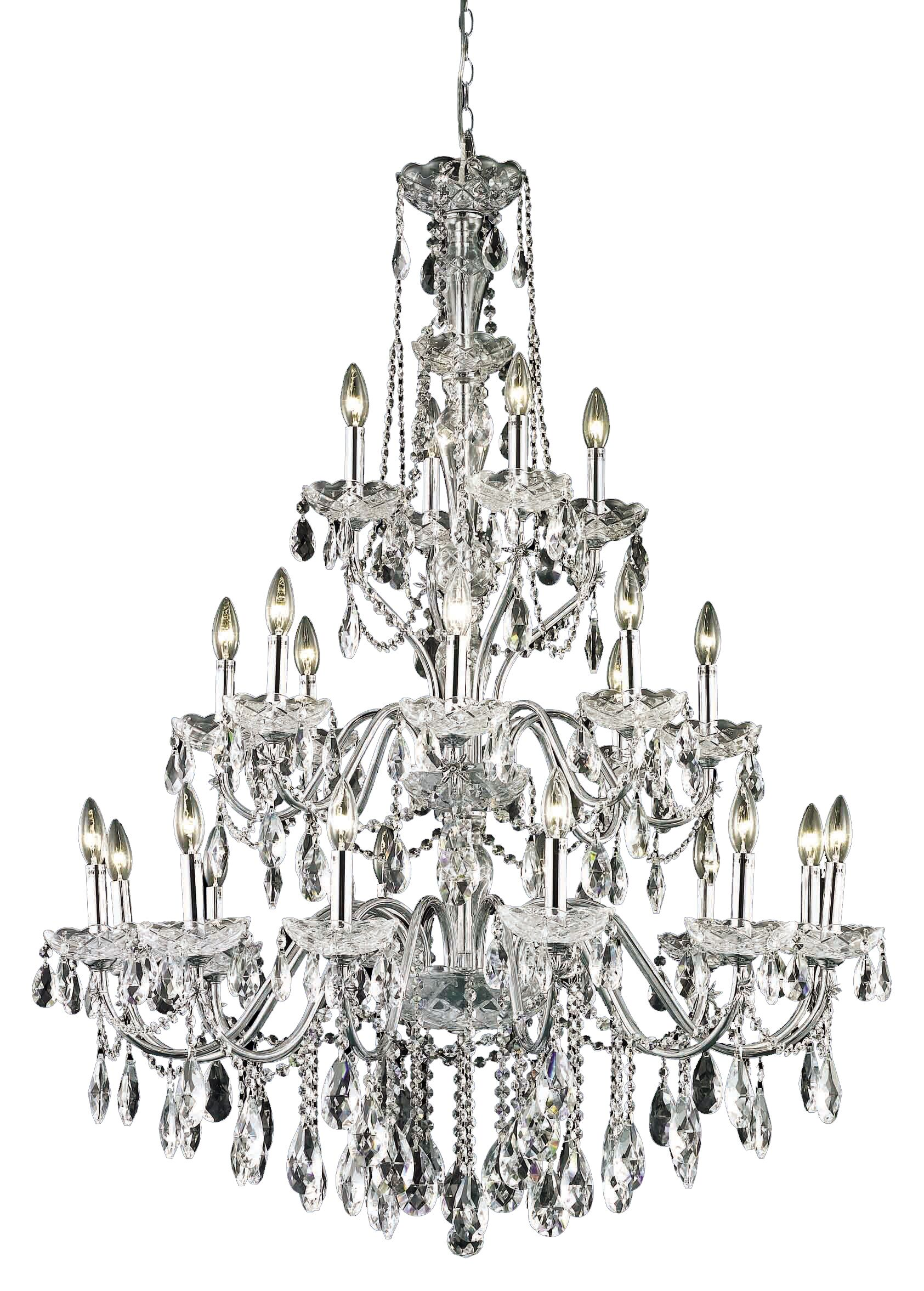 Thao 24-Light Chain Candle Style Chandelier Finish: Chrome, Crystal Grade: Spectra Swarovski