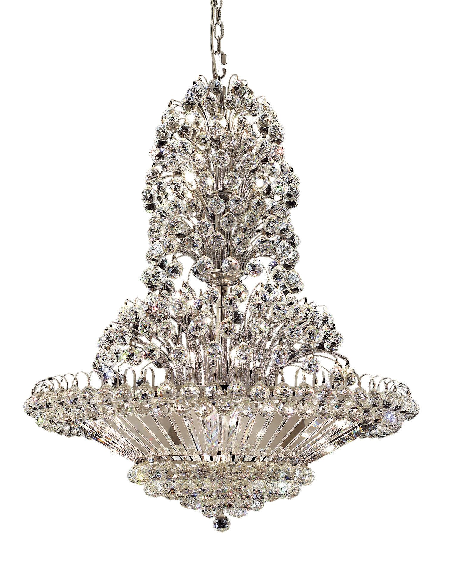Maud 33-Light Chandelier Finish: Chrome, Crystal Grade: Egyptian
