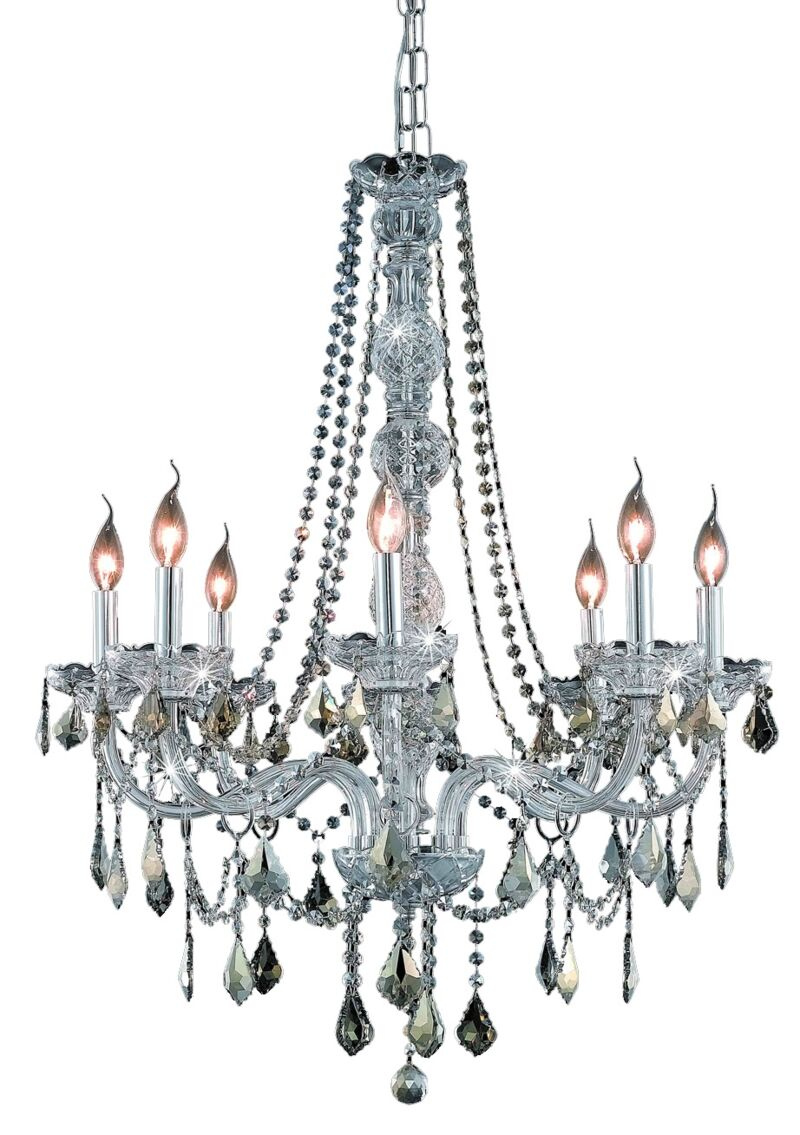 Petties 8-Light Candle Style Chandelier Color: Chrome/Golden Teak, Crystal Grade: Egyptian