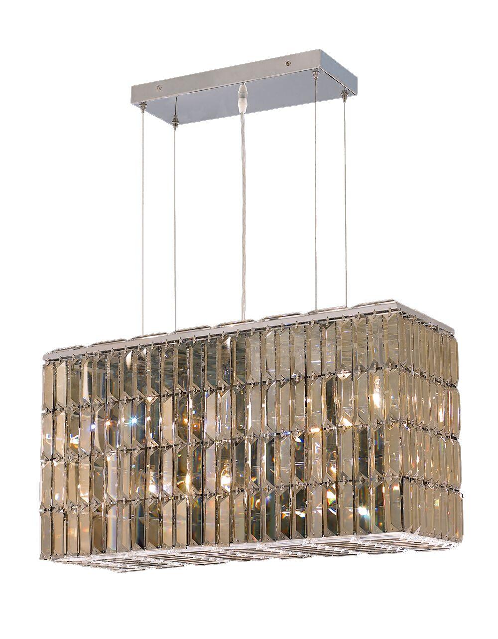Langer 8-Light Kitchen Island Pendant Crystal: Egyptian, Finish: Golden Teak