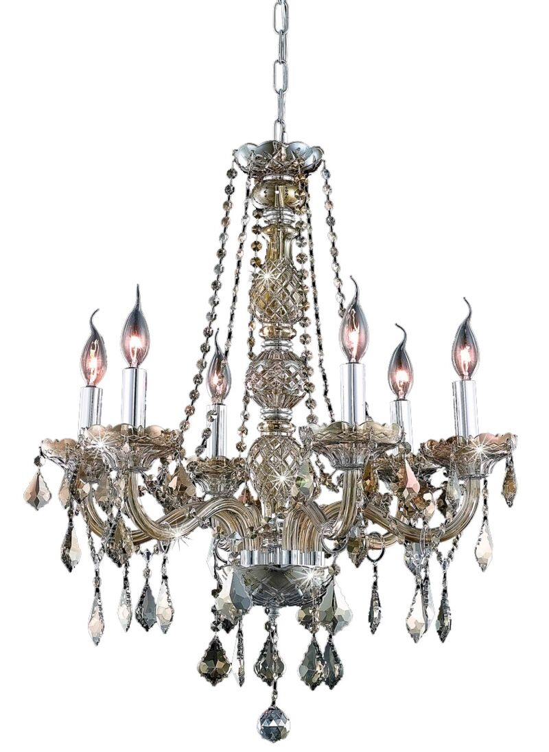 Petties 6-Light Candle Style Chandelier Crystal Grade: Egyptian, Color: Golden Teak