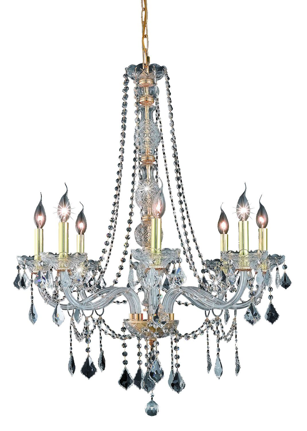 Petties 8-Light Candle Style Chandelier Crystal Grade: Elegant-Cut, Color: Gold