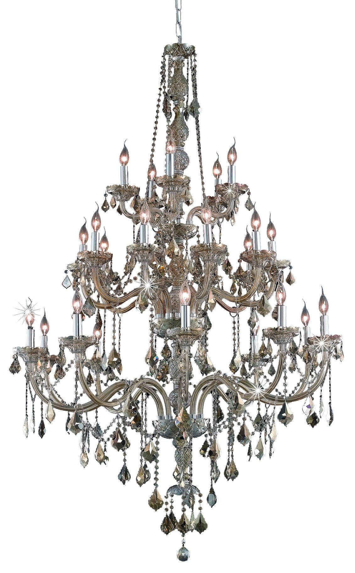 Petties 25-Light Candle Style Chandelier Crystal Grade: Egyptian, Color: Golden Teak