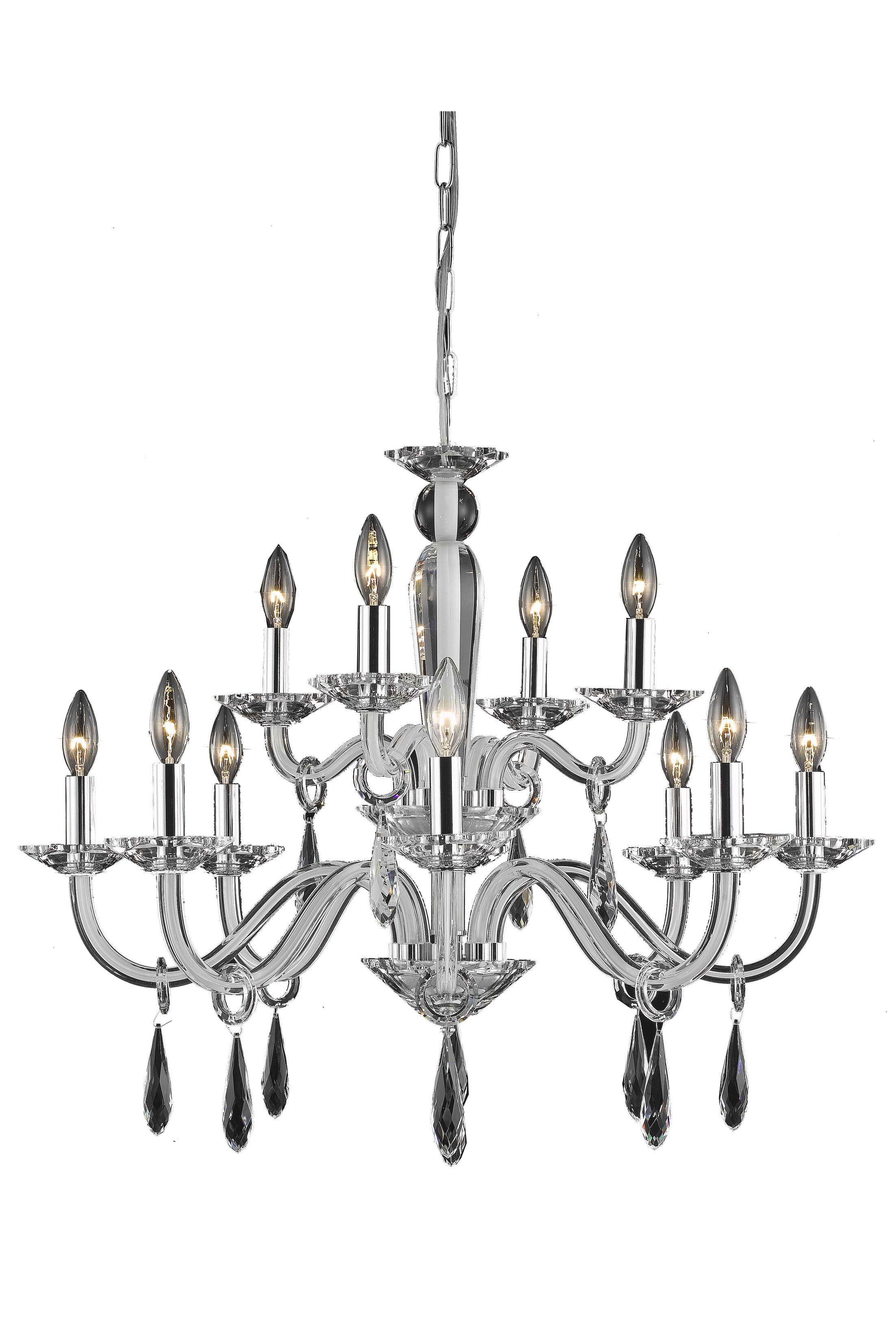 Halton 12-Light Chandelier Finish: Black, Crystal Trim: Elegant Cut