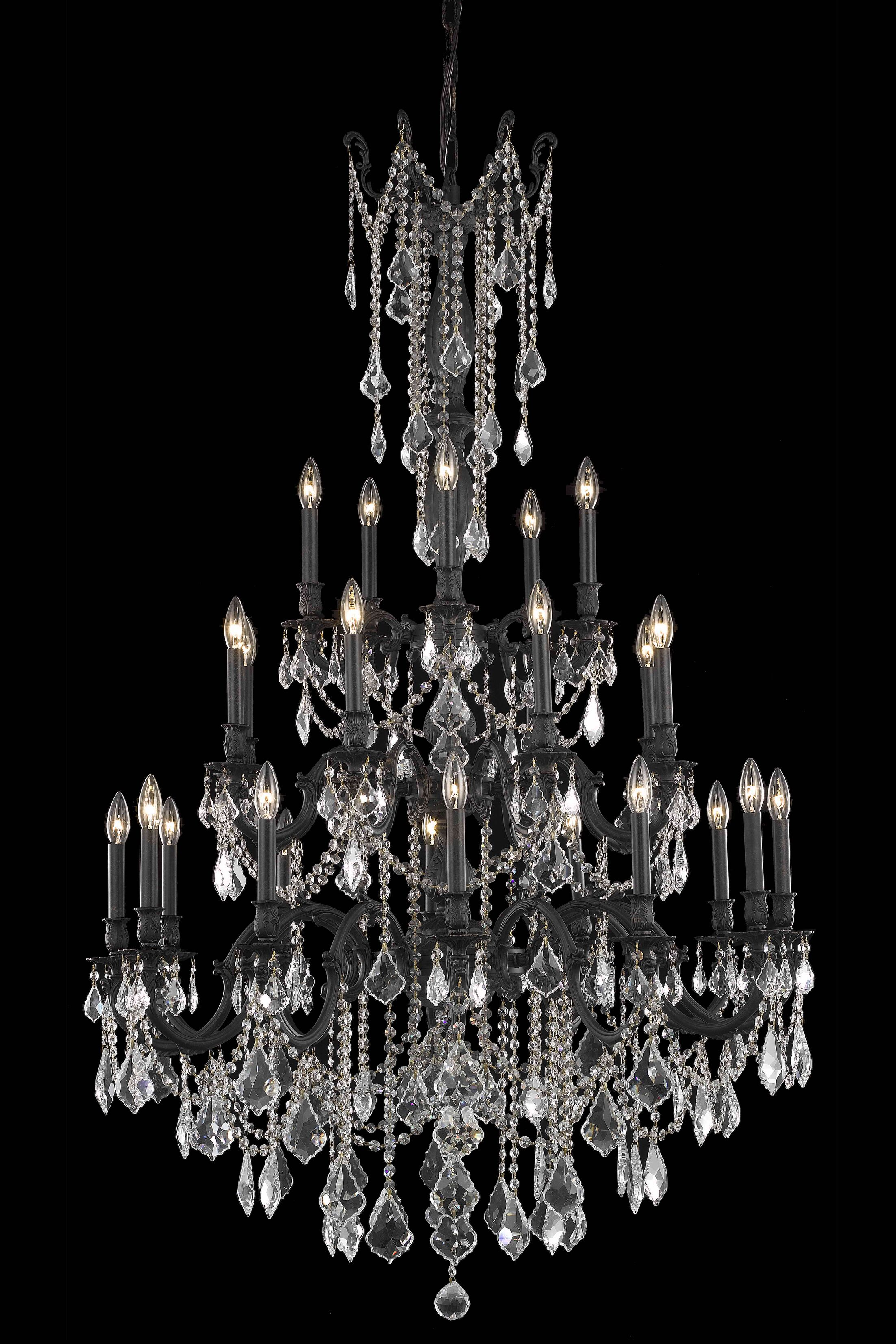 Utica 25-Light Candle Style Chandelier Crystal Color / Crystal Trim: Crystal (Clear) / Royal Cut