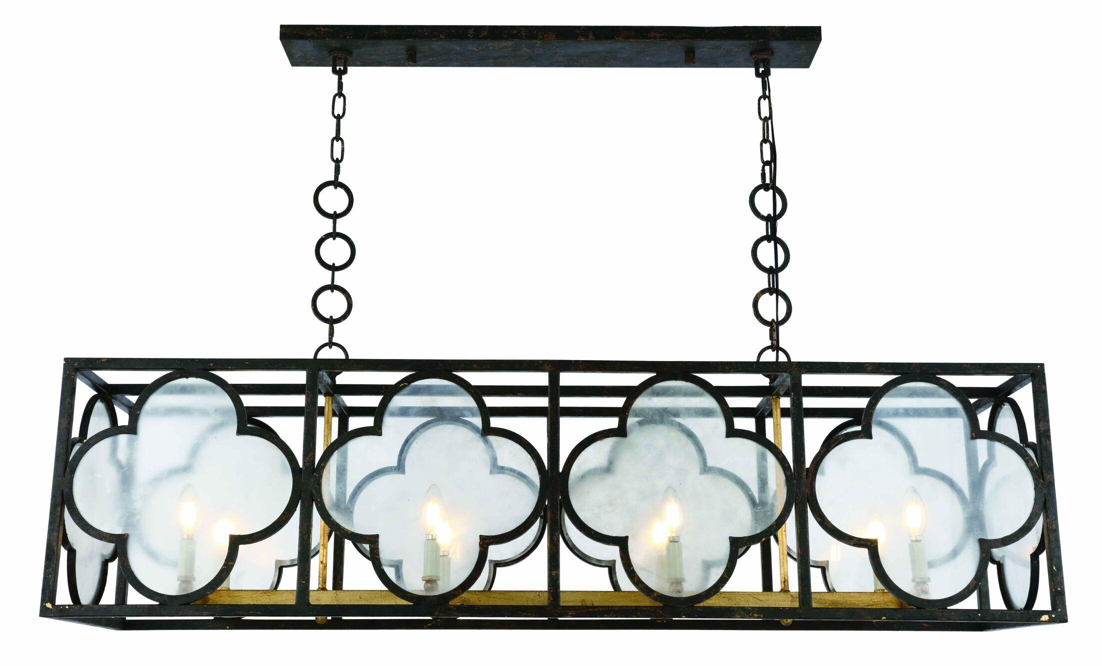 Angelo 8-Light LED Glass Kitchen Island Pendant Finish: Aged Copper/Golden Iron