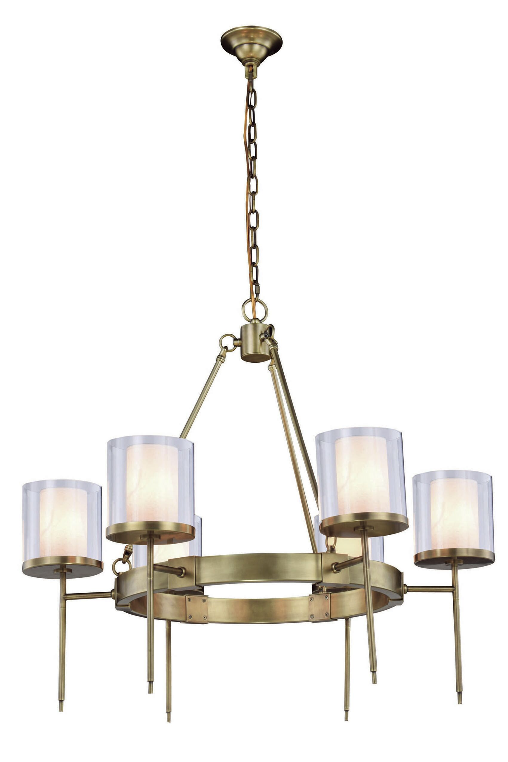 Simmon 6-Light Shaded Chandelier Finish: Burnished Brass
