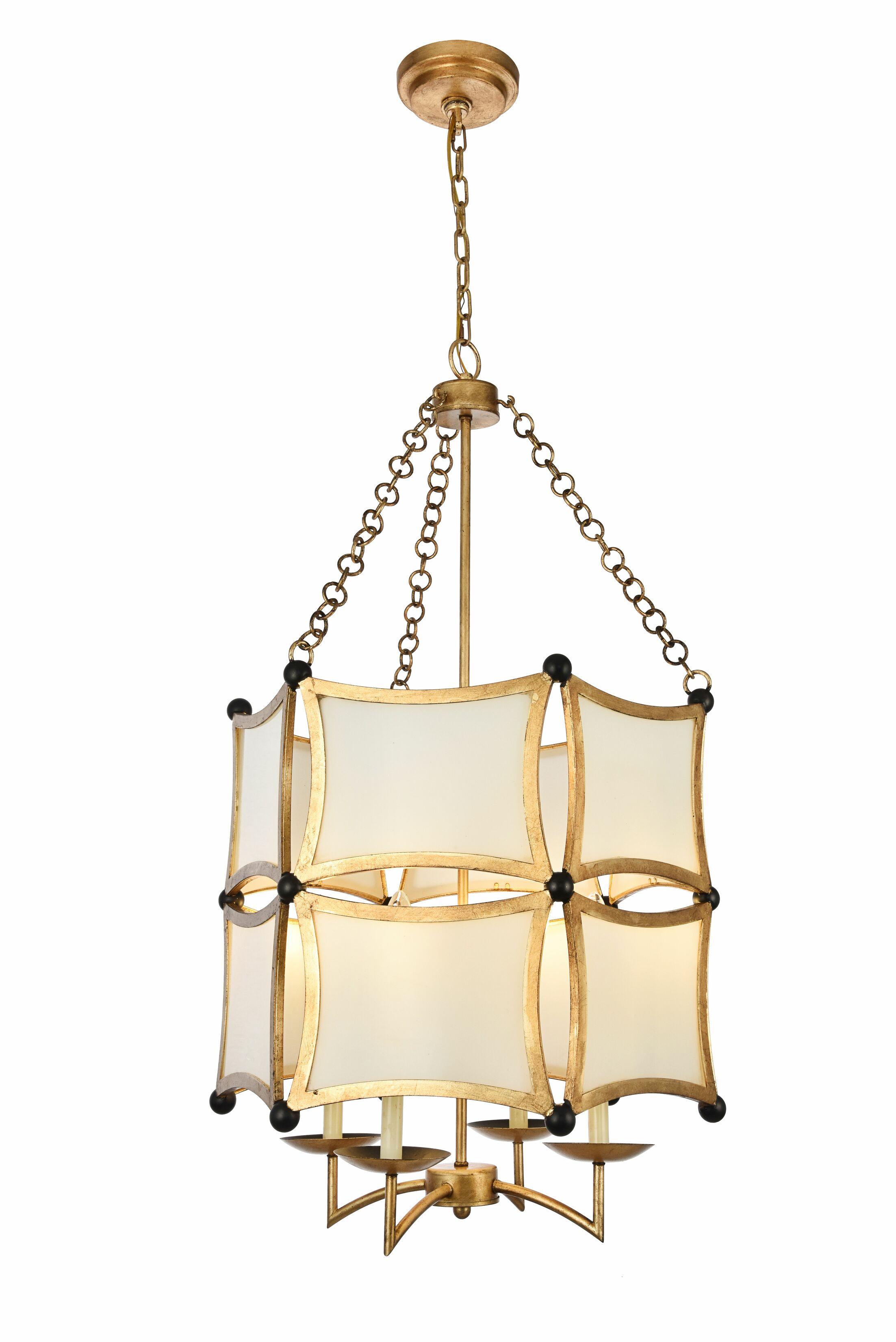 Sterner 4-Light Lantern Chandelier Finish: Golden/Black
