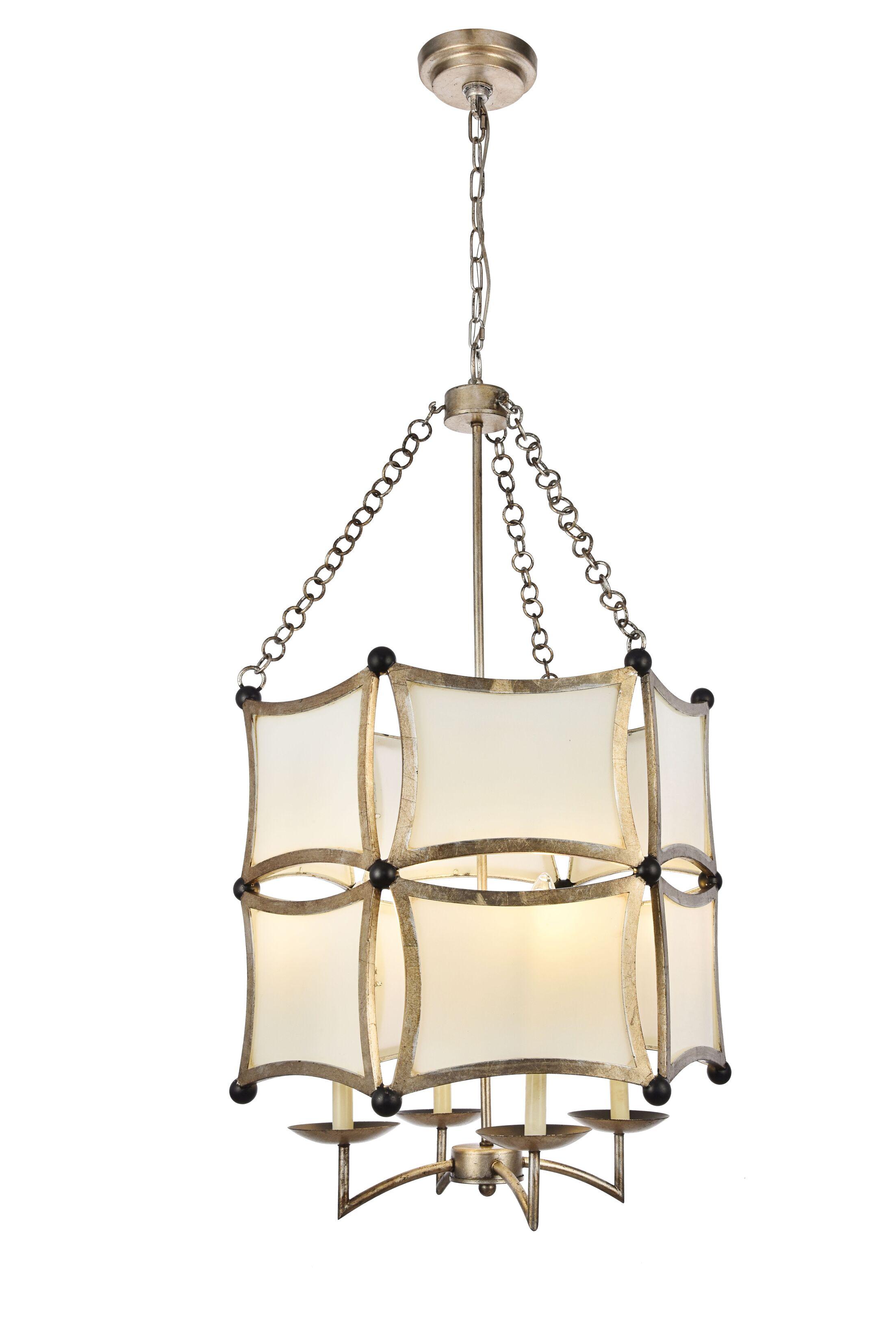 Sterner 4-Light Lantern Chandelier Finish: Antique Silver/Black
