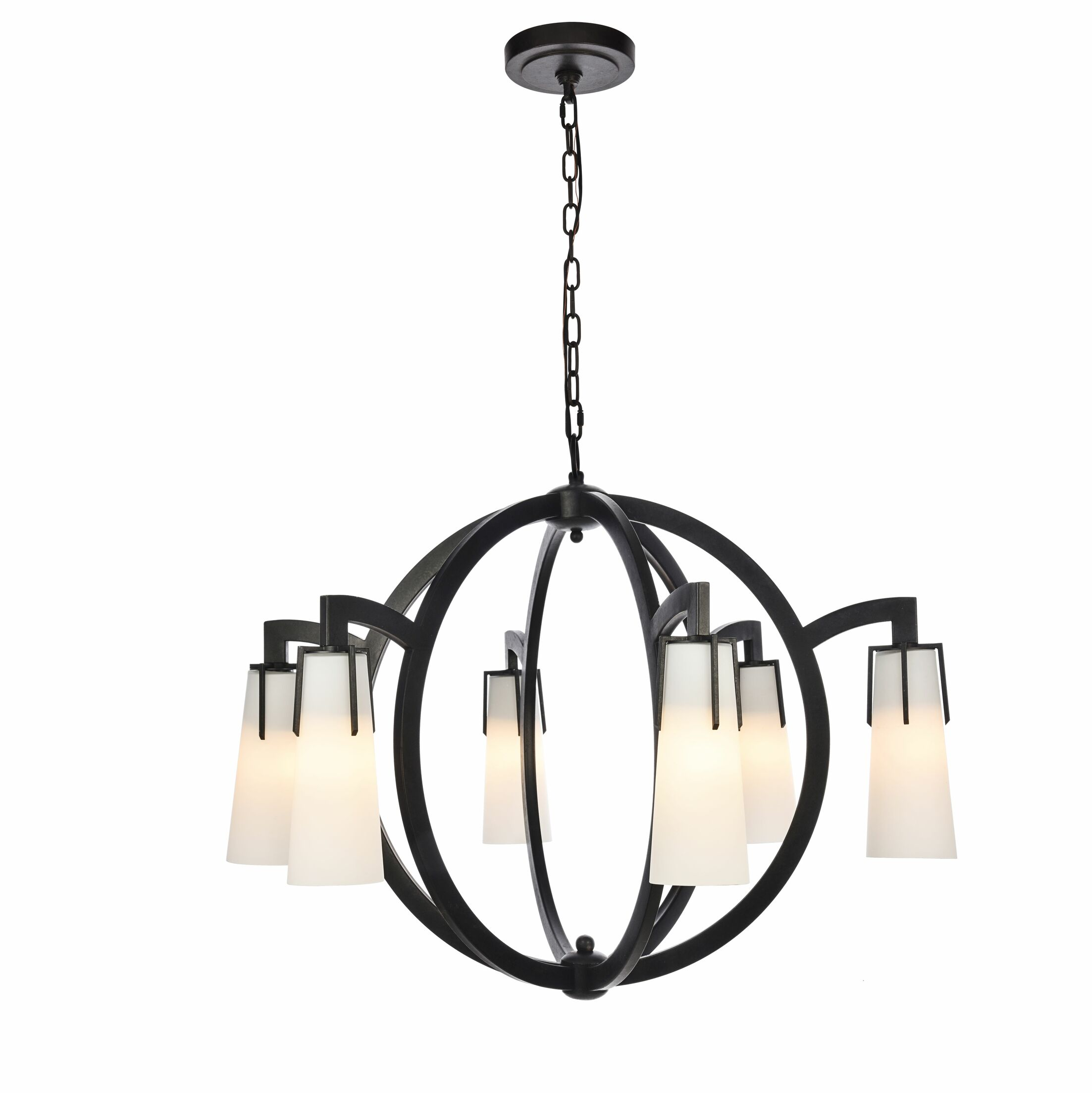 Sterns 6-Light Shaded Chandelier Finish: Vintage Bronze