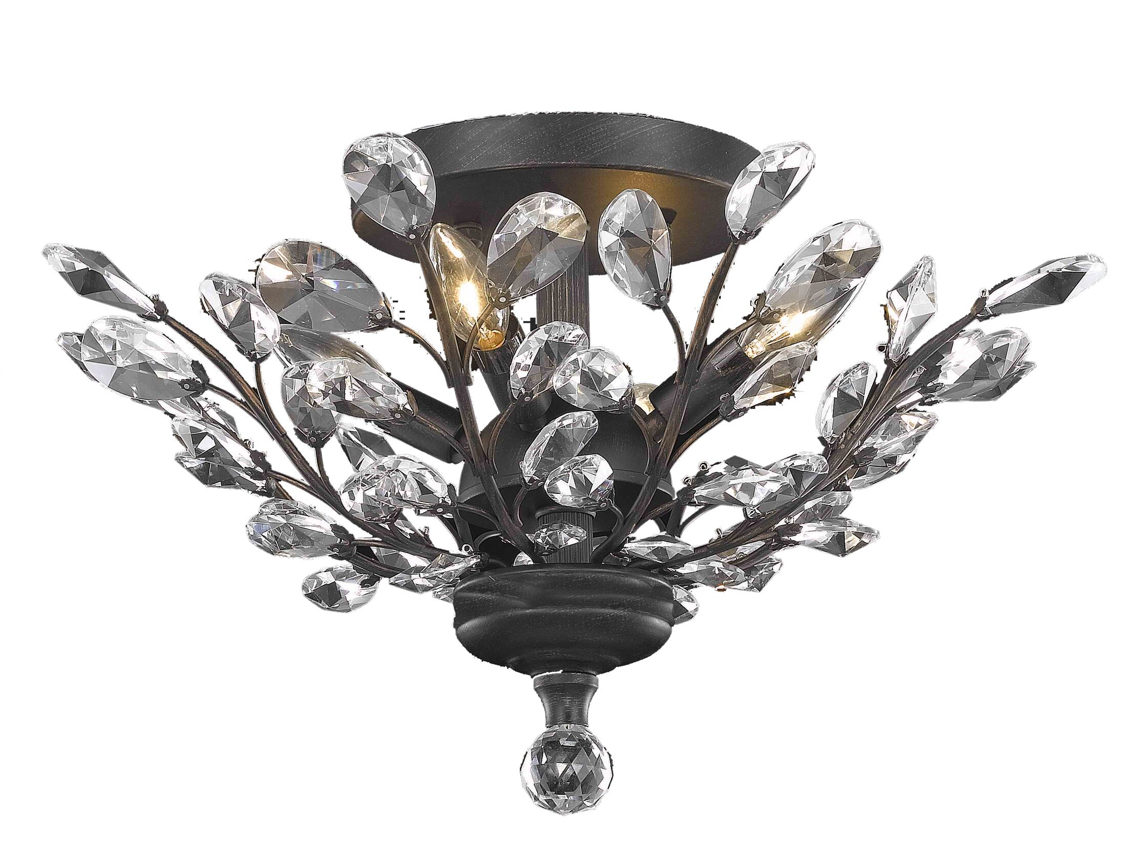 Gila 4-Light Semi Flush Mount Crystal Grade: Elegant Cut