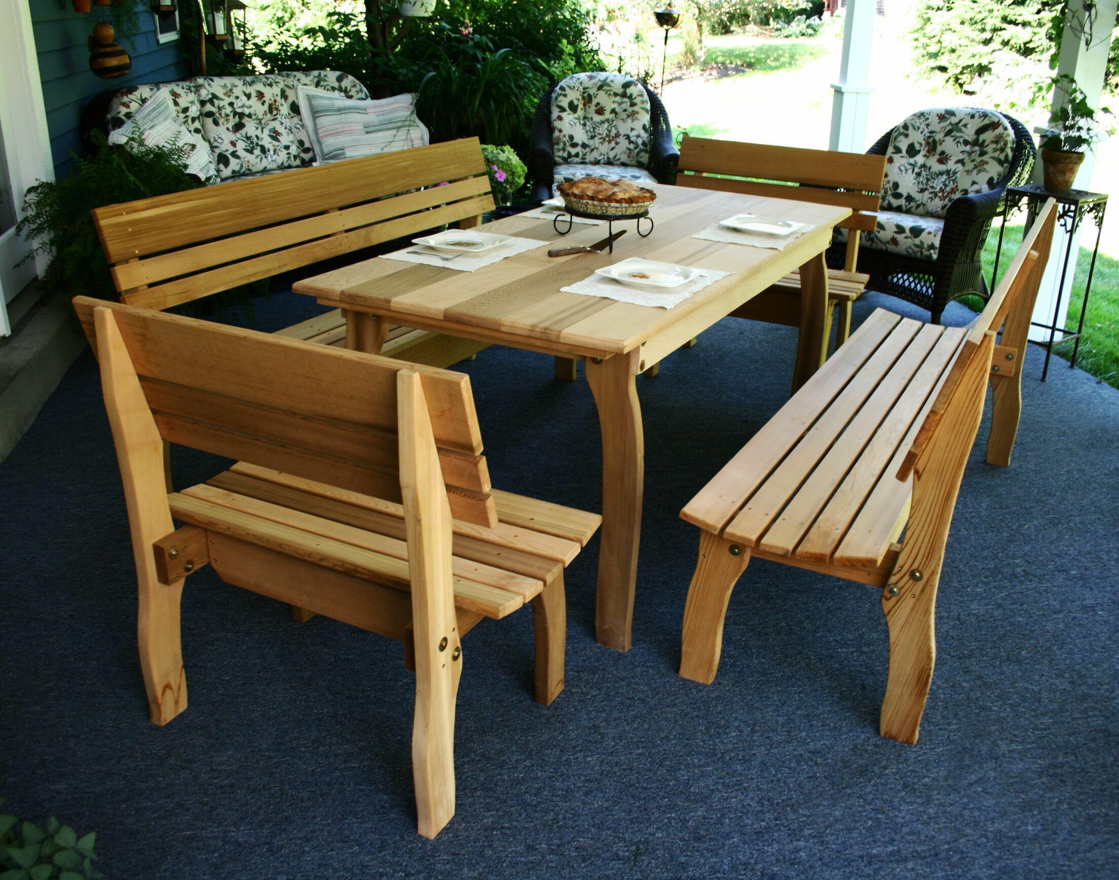 Cedar Chickadee 5 Piece Dining Set Table Size: 70