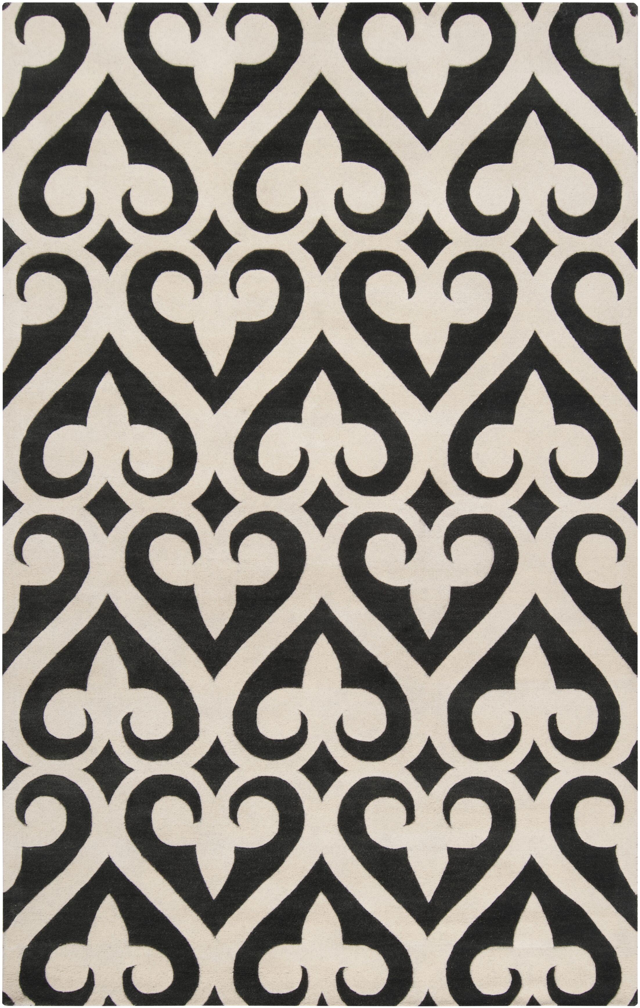 Zuna Geometric Ivory/Black Area Rug Rug Size: Rectangle 9' x 13'